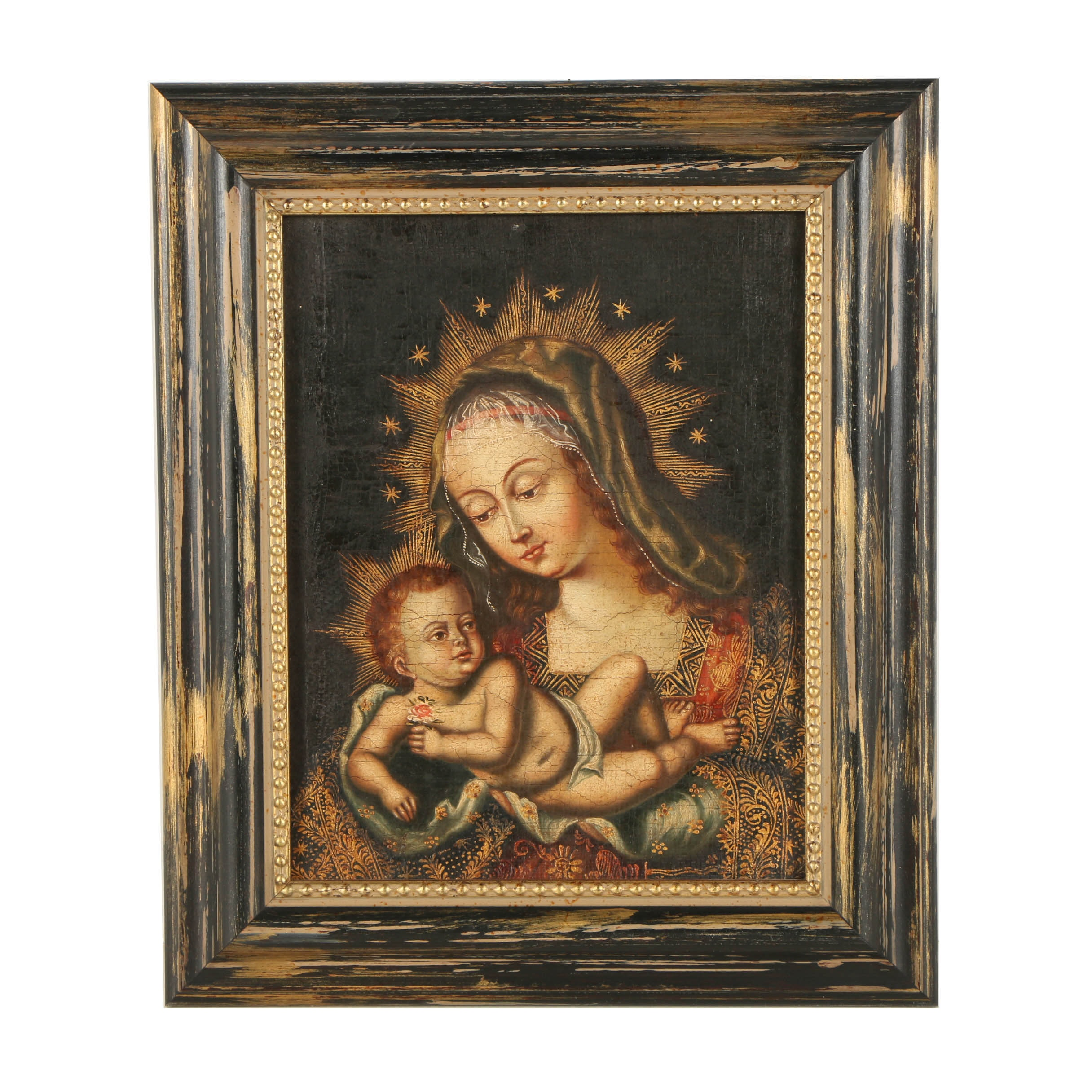 Acrylic and Oil Painting on Canvas of the Madonna and Child