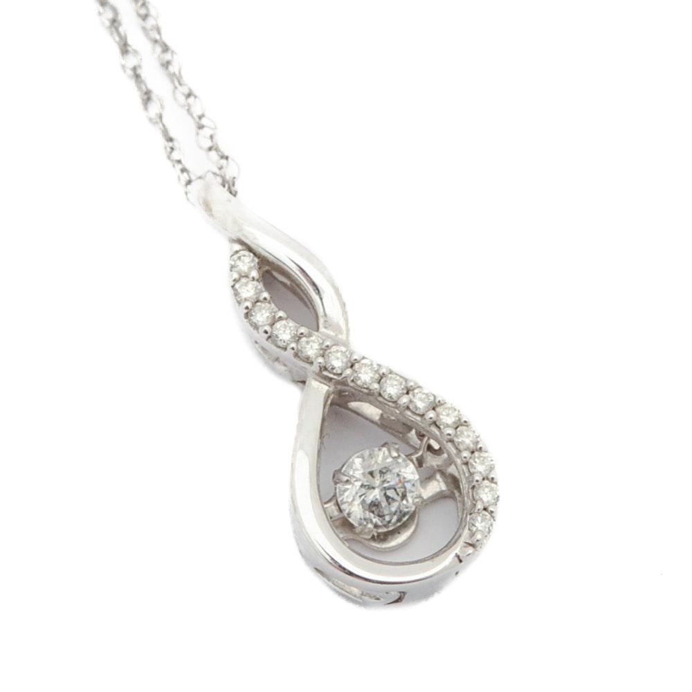 14K and 10K White Gold Diamond Infinity Pendant Necklace