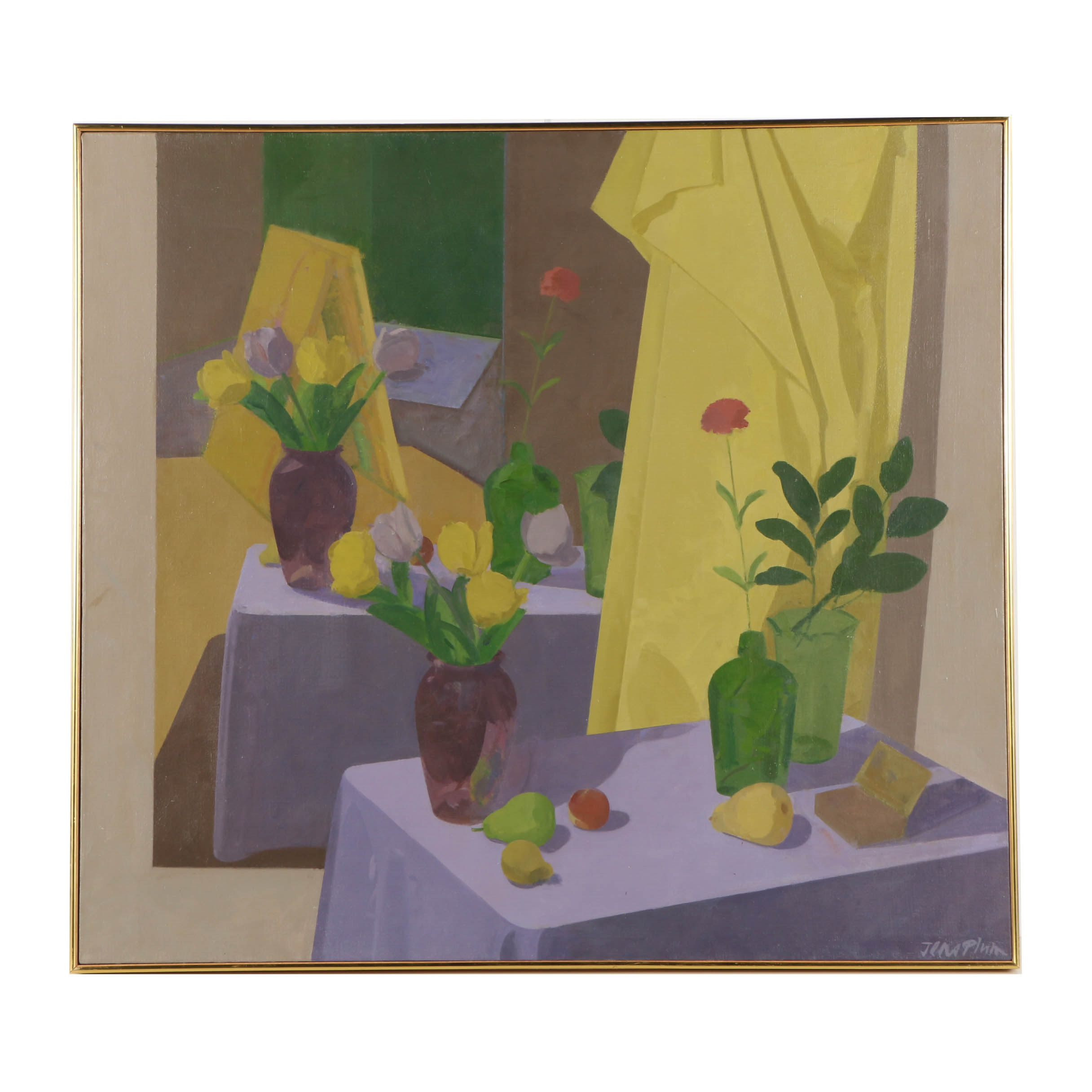 Jens Plum 1989 Oil Painting on Canvas of Interior with Still Life