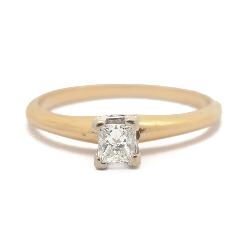 14K Yellow Gold Princess Cut Diamond Ring