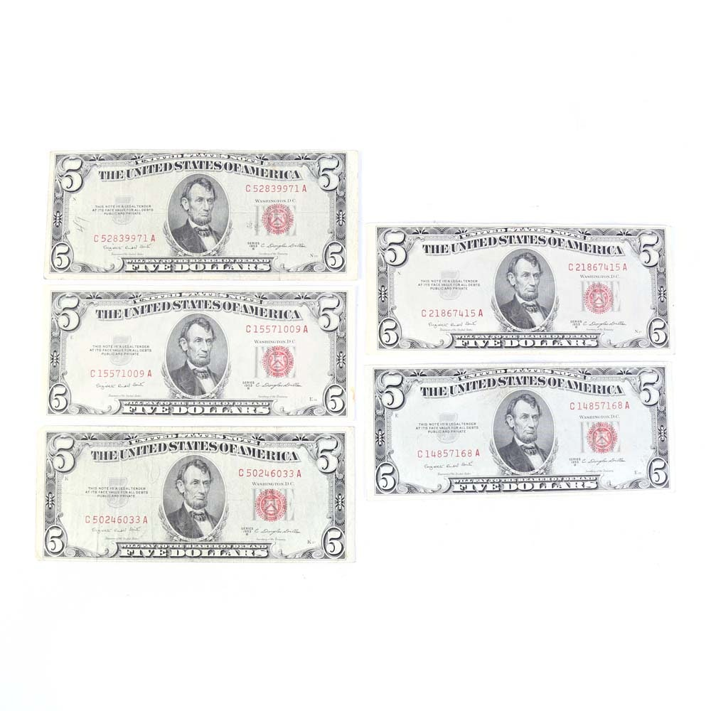 Series 1953-B Red Seal $5 Notes