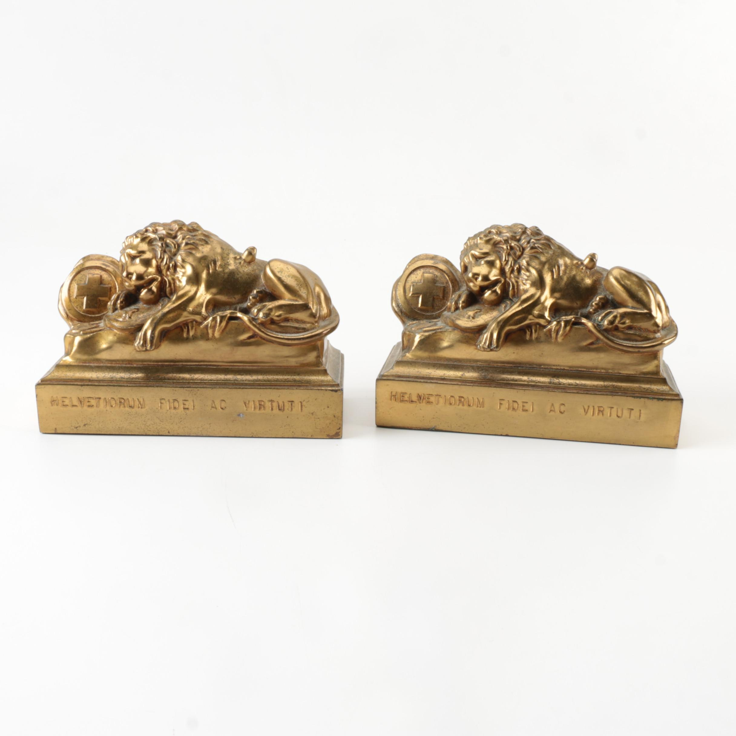 """Swiss Lion Monument"" Reproduction Bookends"