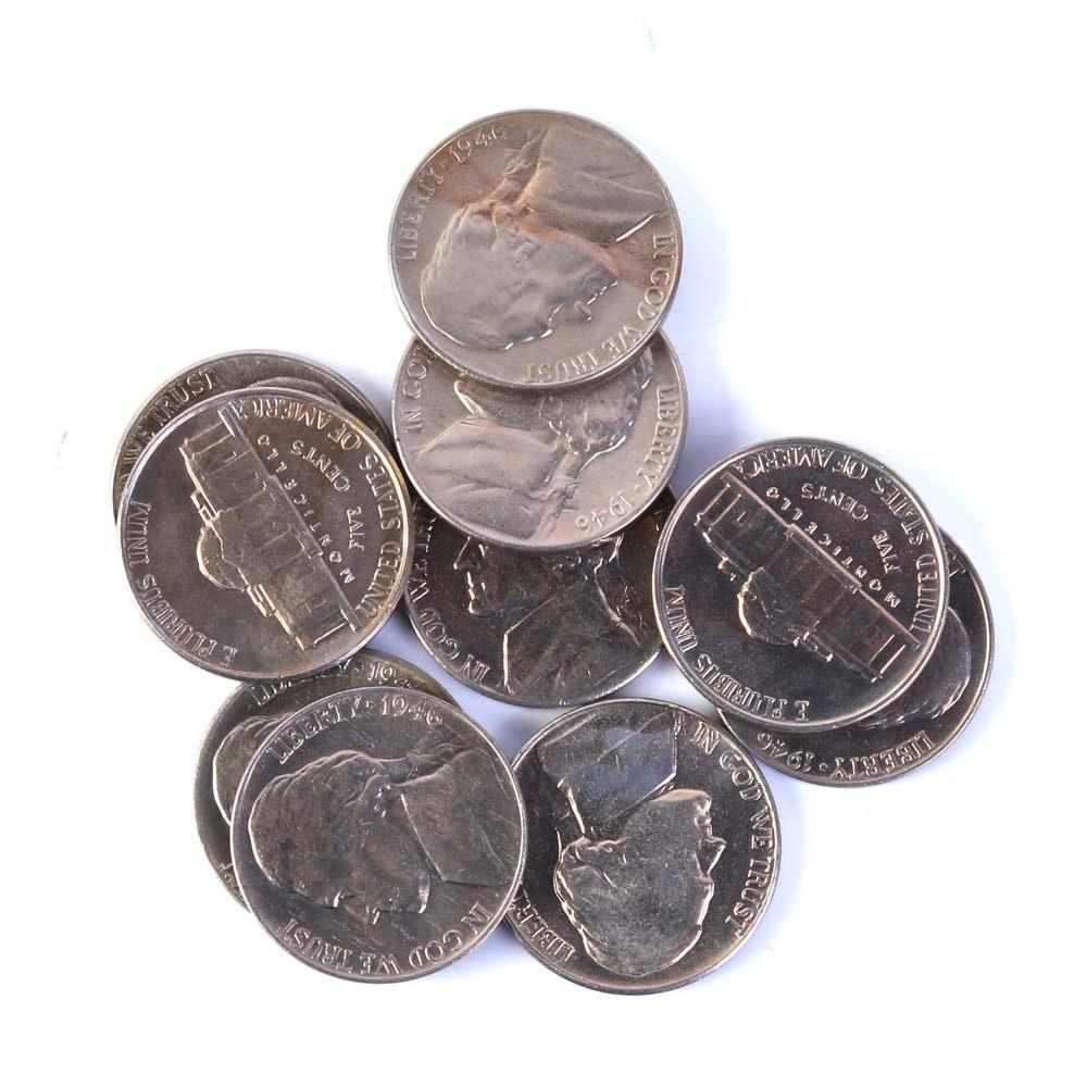 Ten Jefferson Nickels 1946 and 1949