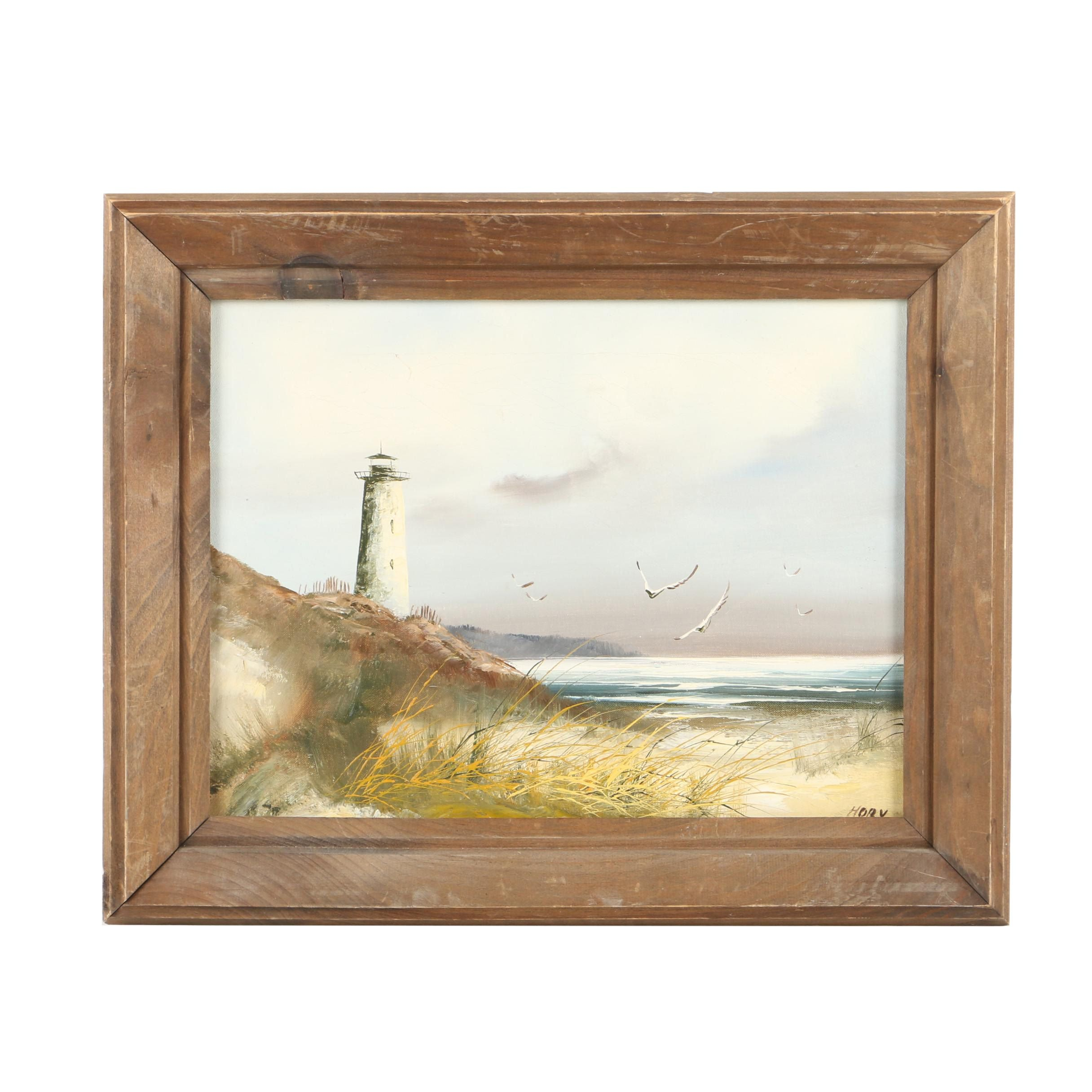 Hory Oil Painting on Canvas of Seascape With Lighthouse