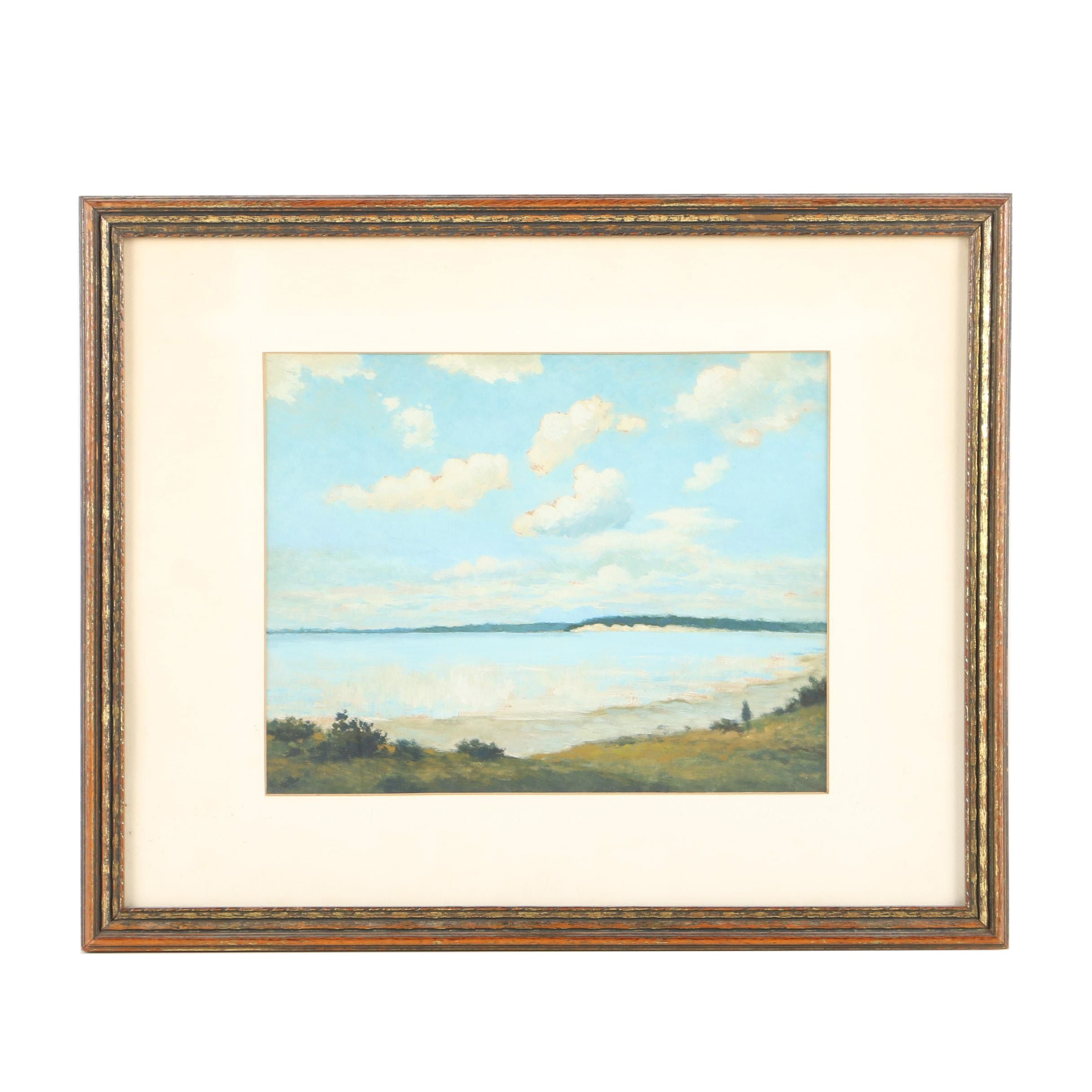 J. A. Burns Oil Painting on Panel of Seaside Landscape