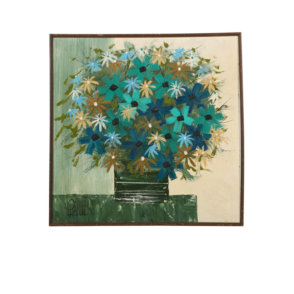 Lee Reynolds Oil Painting on Panel Floral Still Life