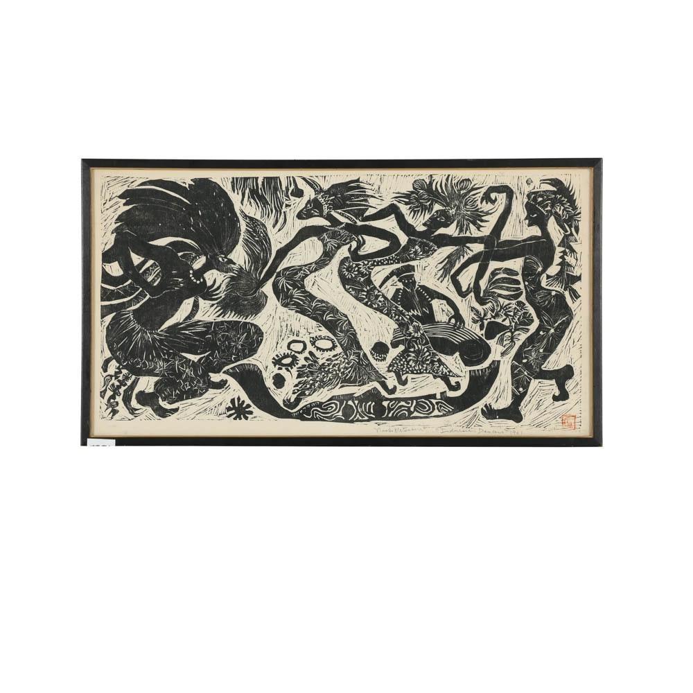"""Naoko Matsubara Woodblock Print on Paper """"Indonesian Dancers"""""""