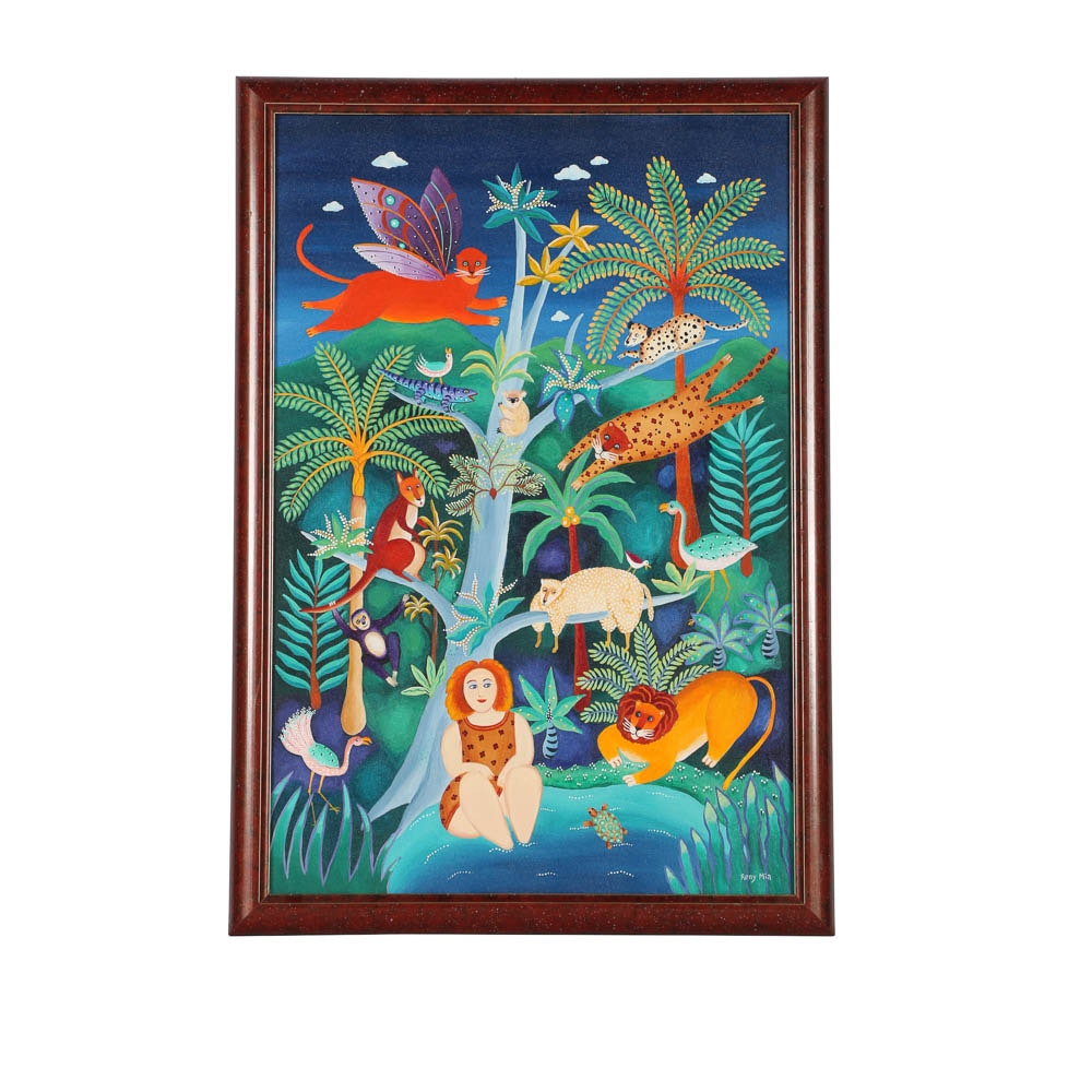 Reny Mia Acrylic Painting on Canvas of Whimsical Jungle Scene