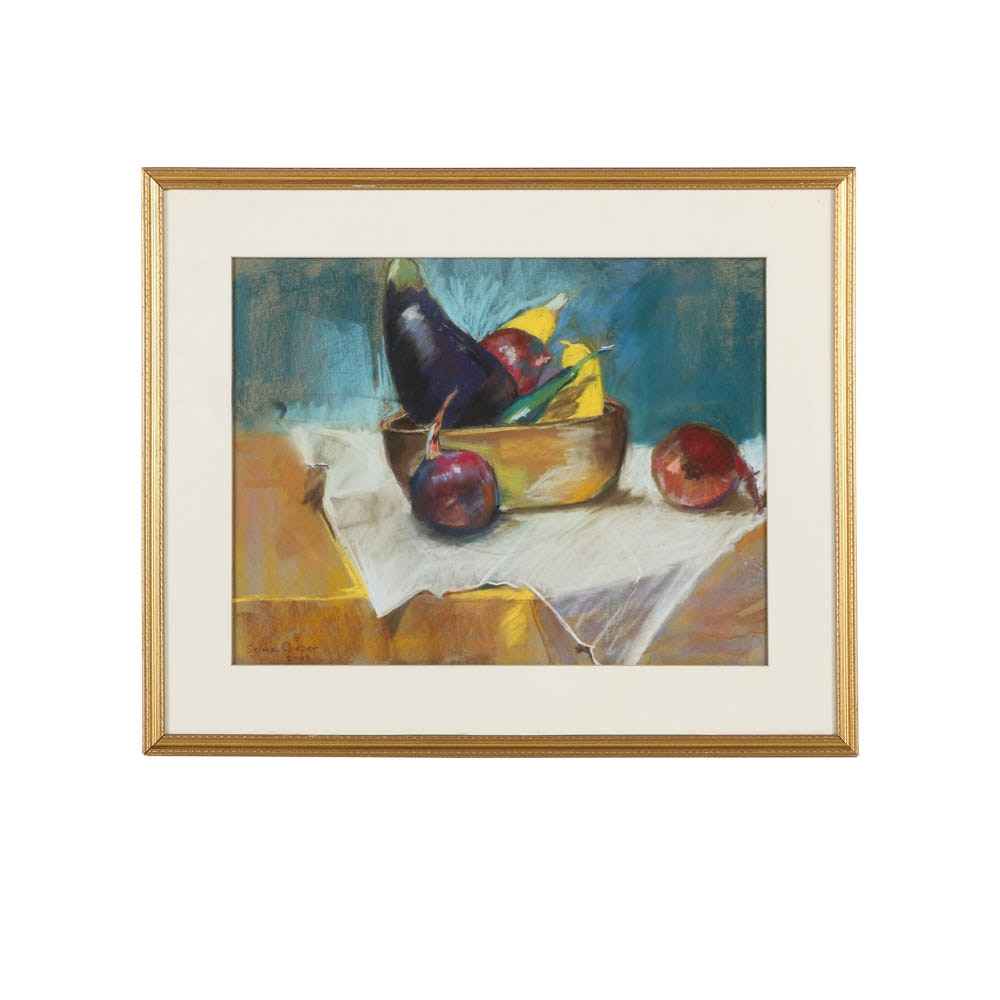 Selma Cooper 2001 Pastel Drawing on Paper of Still Life with Vegetables