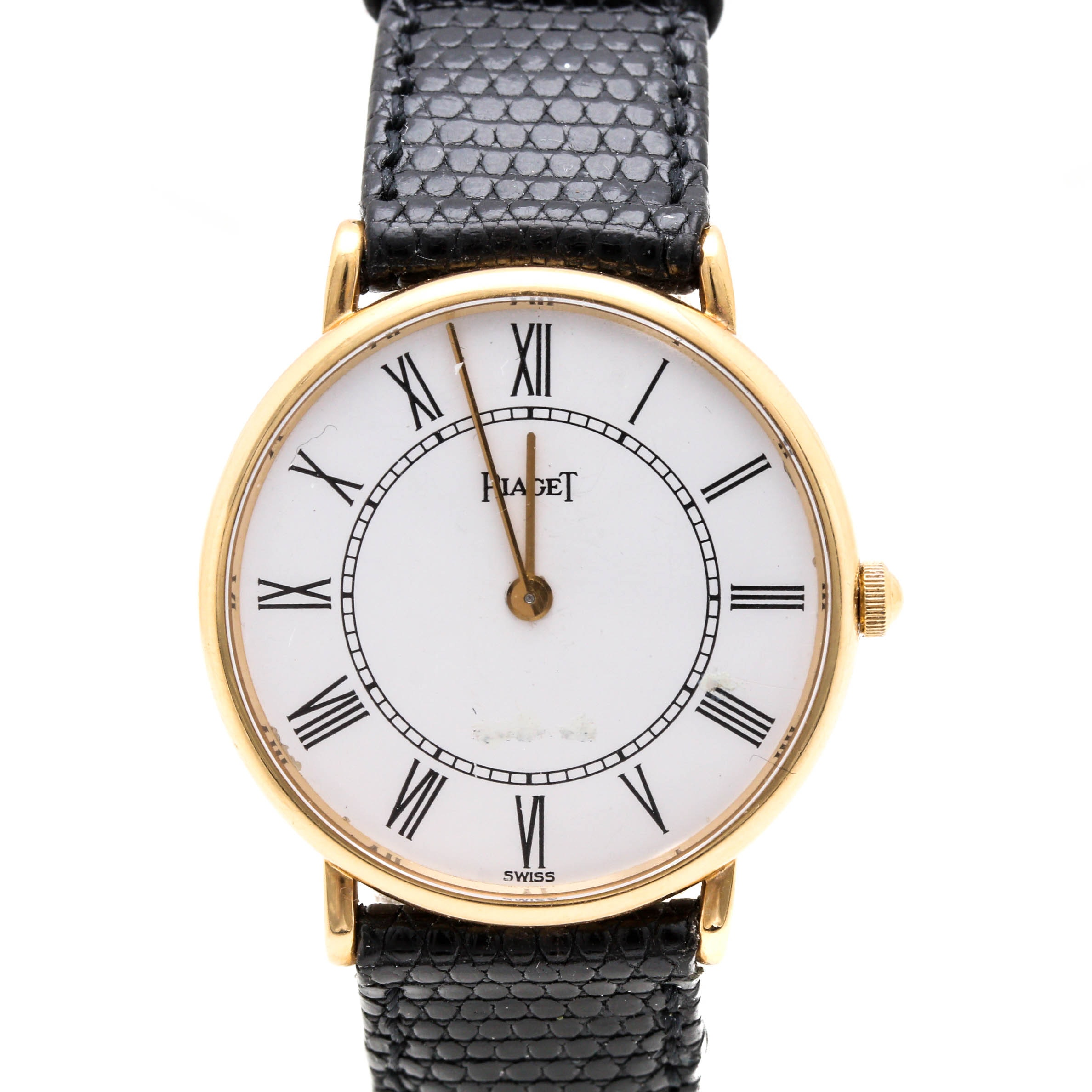 Piaget 18K Yellow Gold Leather Wristwatch