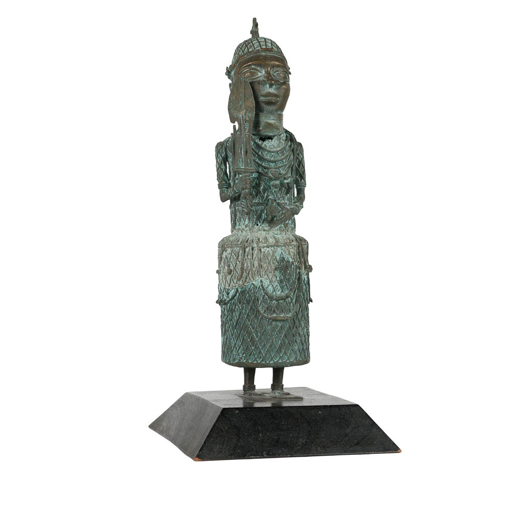 Benin Style Cast Brass Warrior Figure