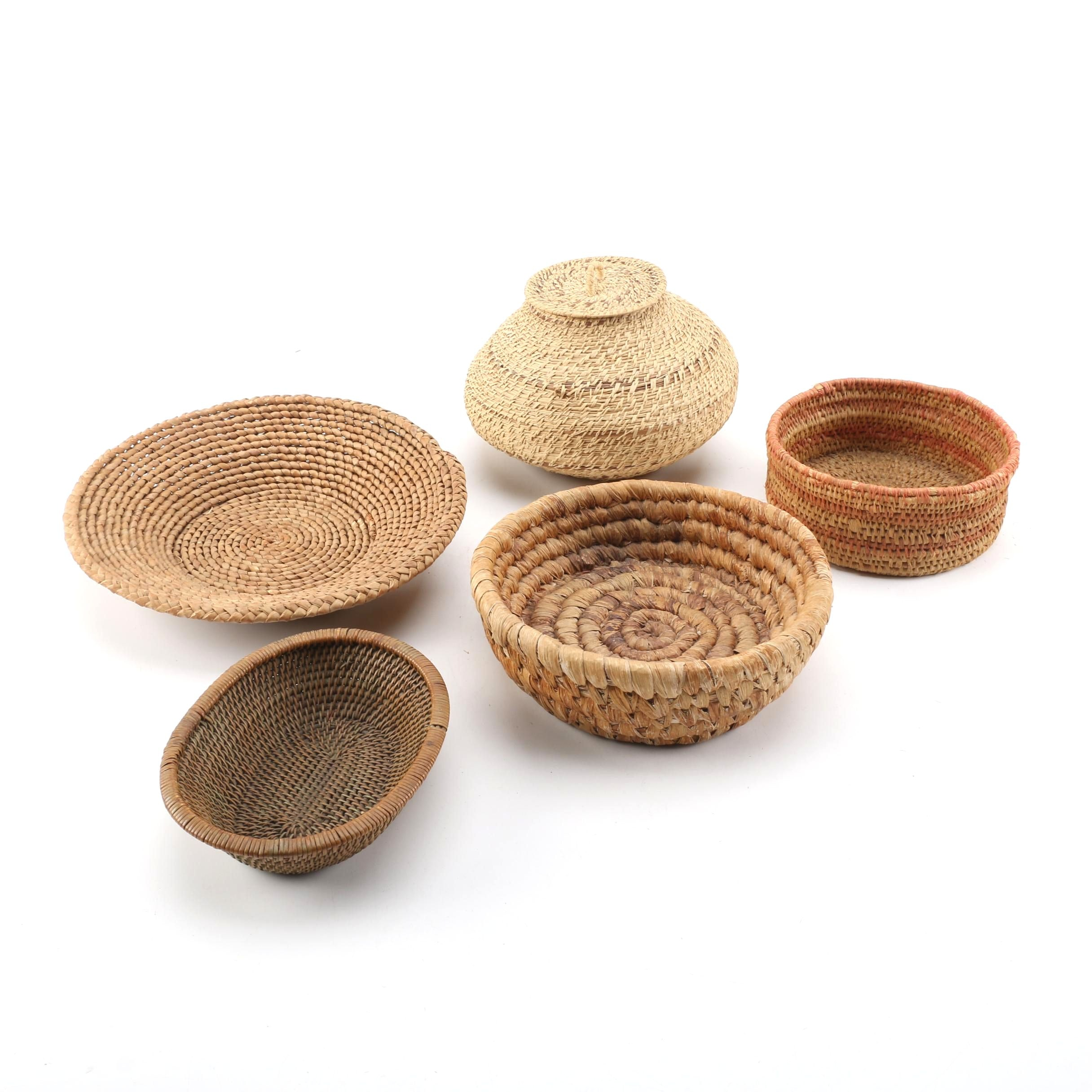 Woven Wicker and Rush Baskets