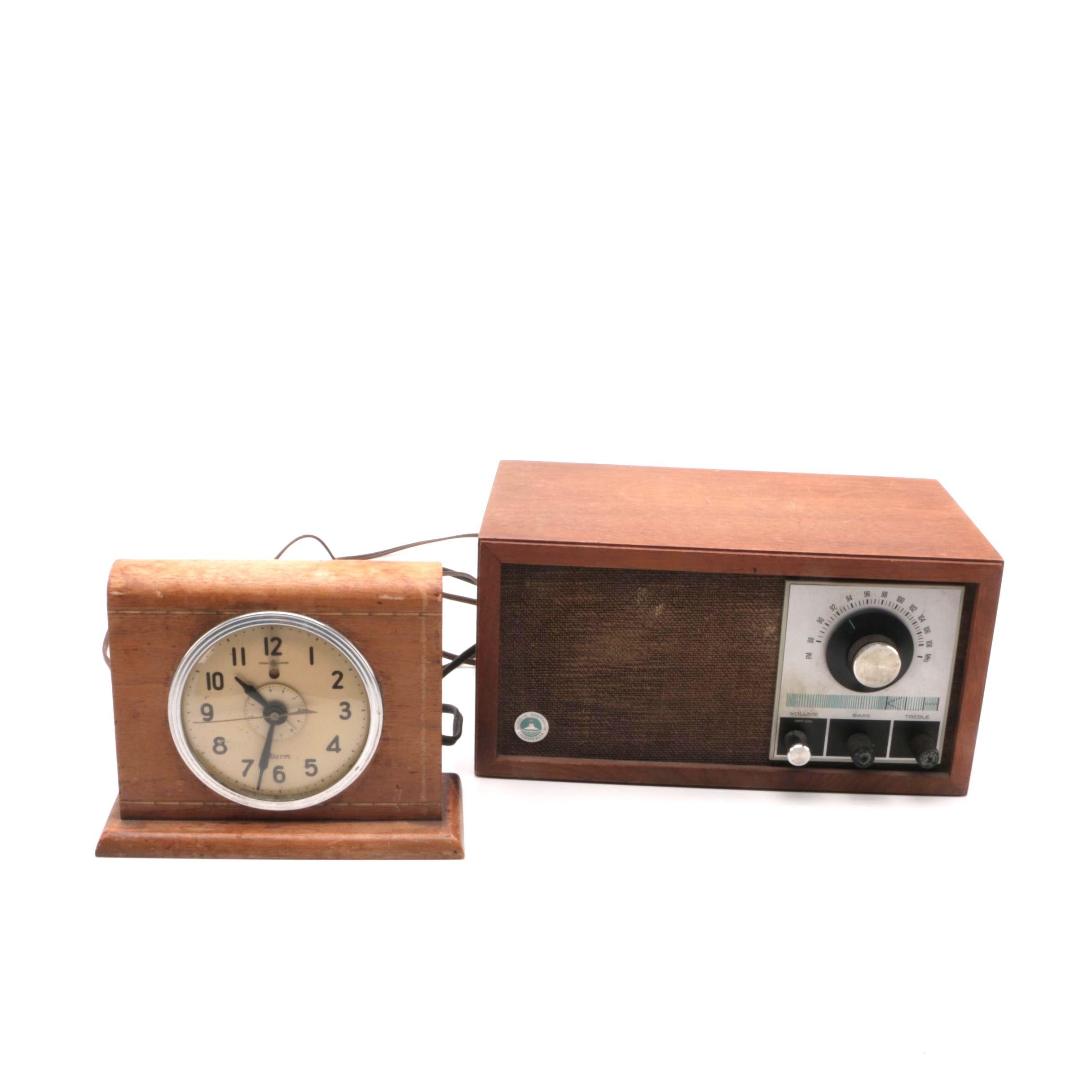 "Vintage GE Alarm Clock and KLH ""Twenty-One/II"" FM Radio"