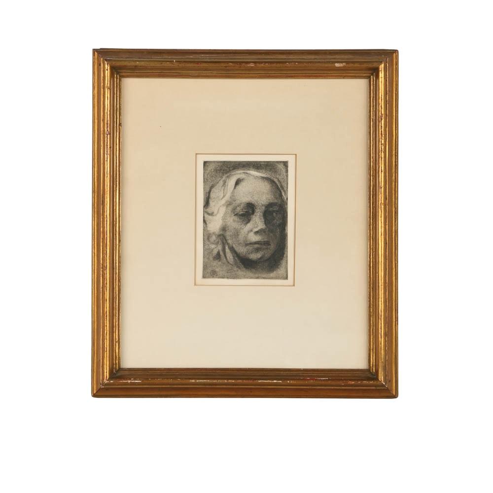 """Käthe Kollwitz Restrike Etching on Paper """"Self Portrait"""""""