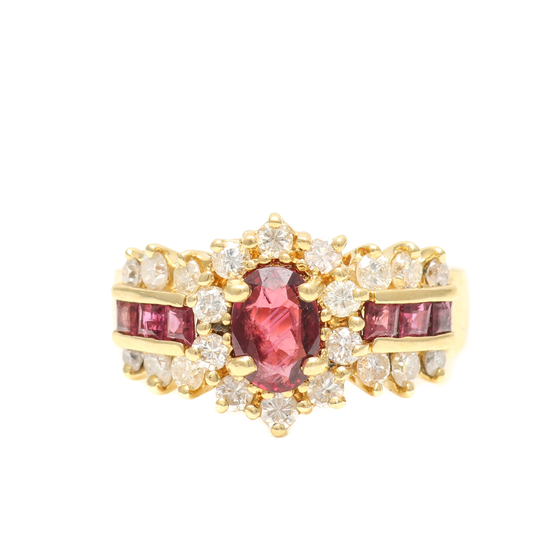 18K Yellow Gold Ruby and 0.66 CTW Diamond Ring