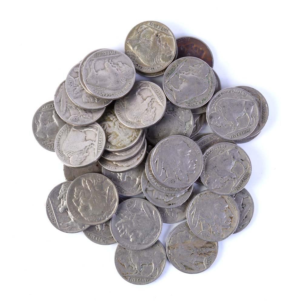 Thirty-Nine Buffalo Nickels 1935 to 1938