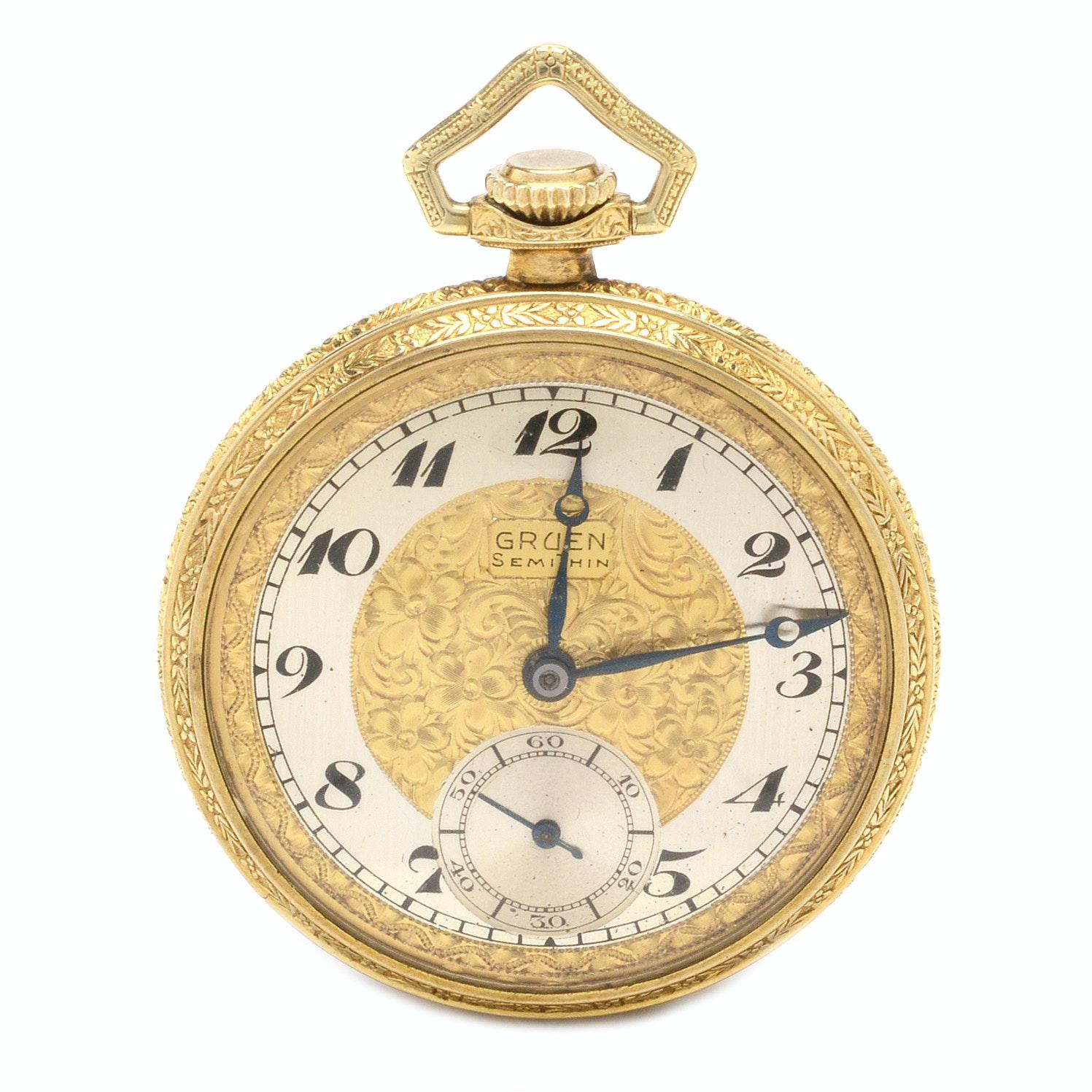 Gruen Gold Filled SemiThin Open Face Pocket Watch