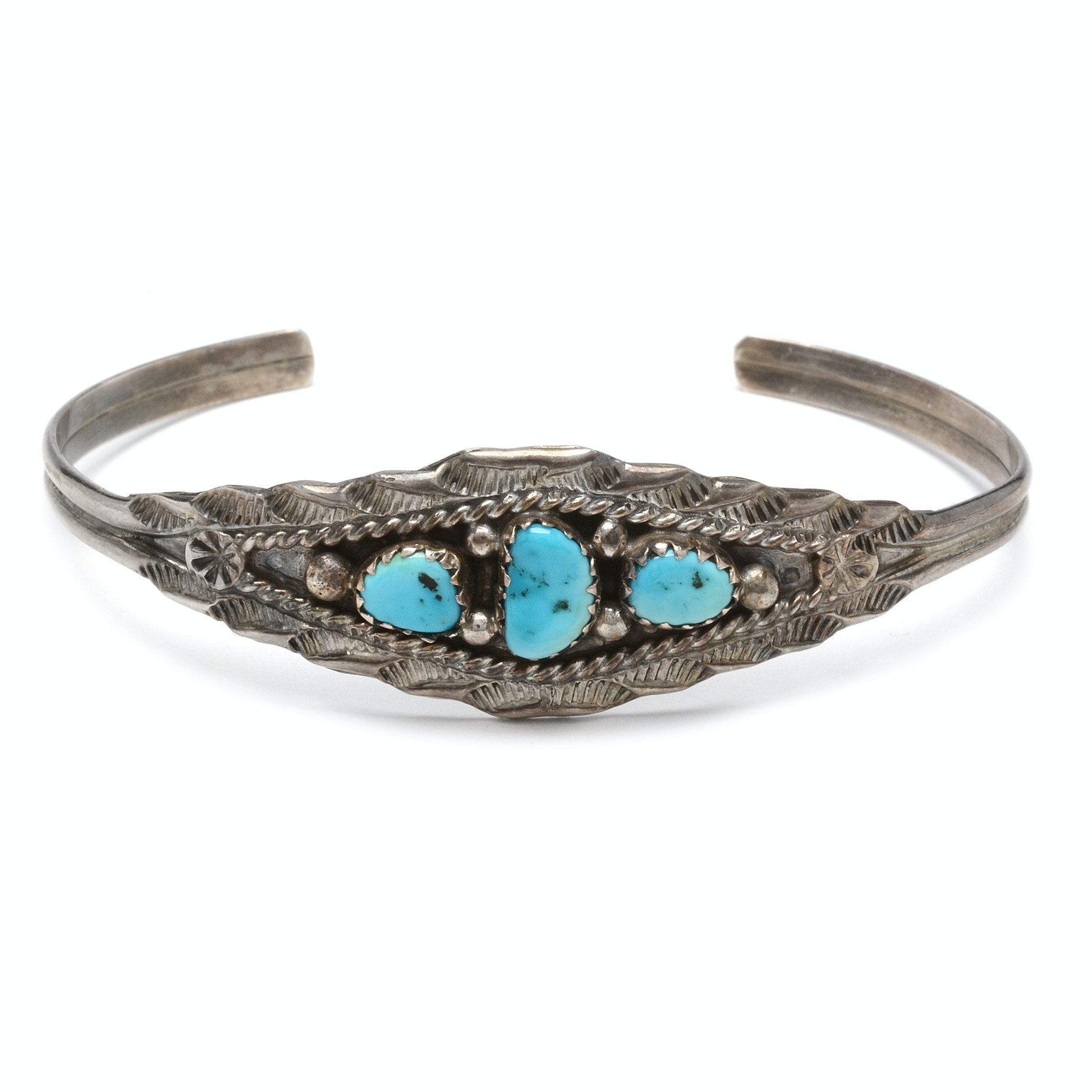 Signed Sterling Silver and Turquoise Southwestern Style Cuff Bracelet