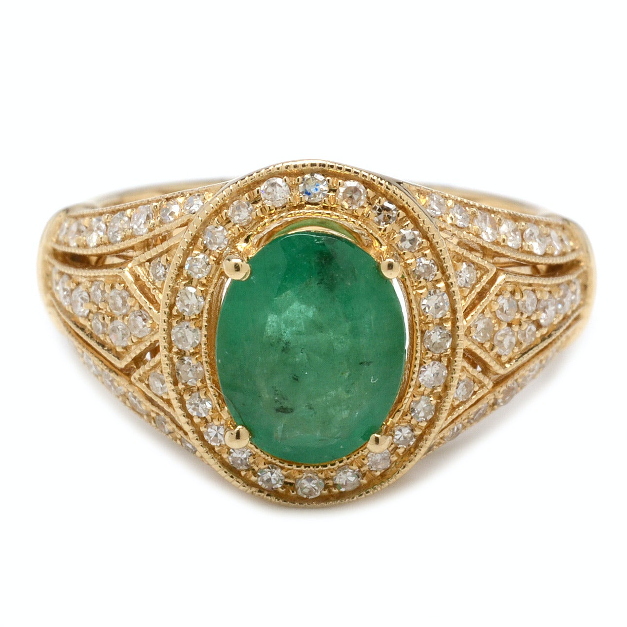 EFFY 14K Yellow Gold 1.21 CT Emerald and Diamond Halo Ring