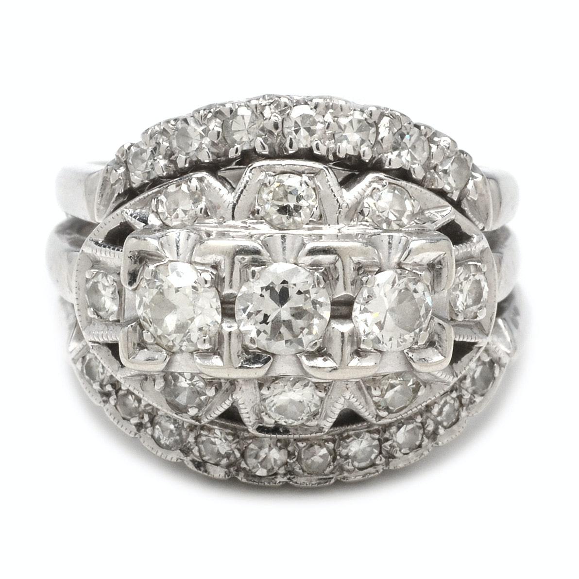 Vintage 14K White Gold 1.00 CTW Diamond Bridal Set