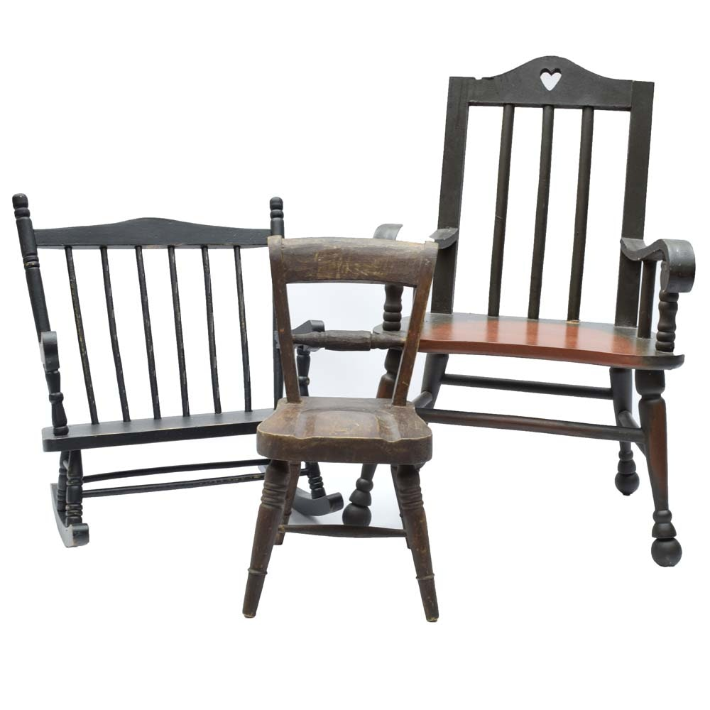 Vintage Wooden Doll Chairs