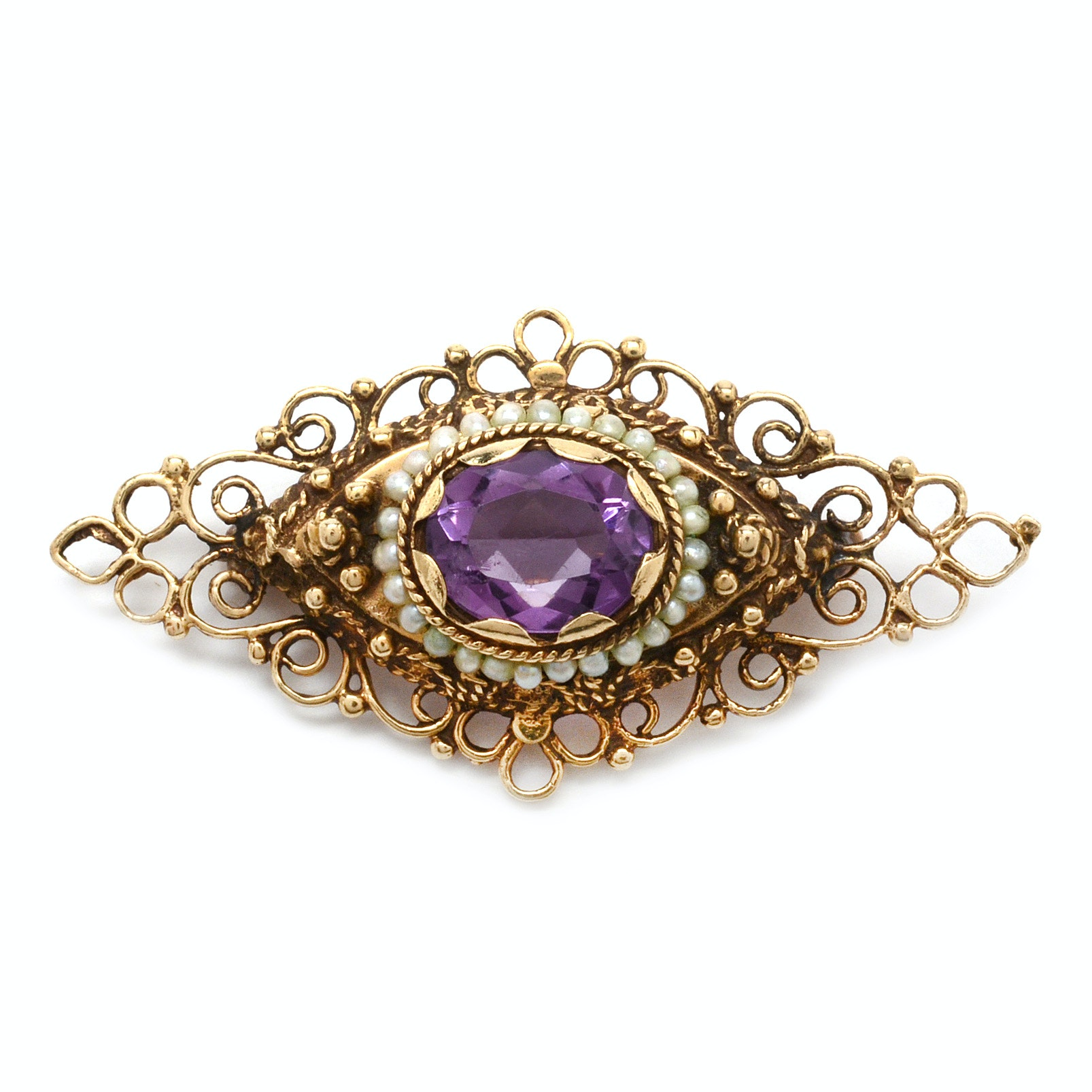 Vintage 14K Yellow Gold Amethyst and Seed Pearl Brooch