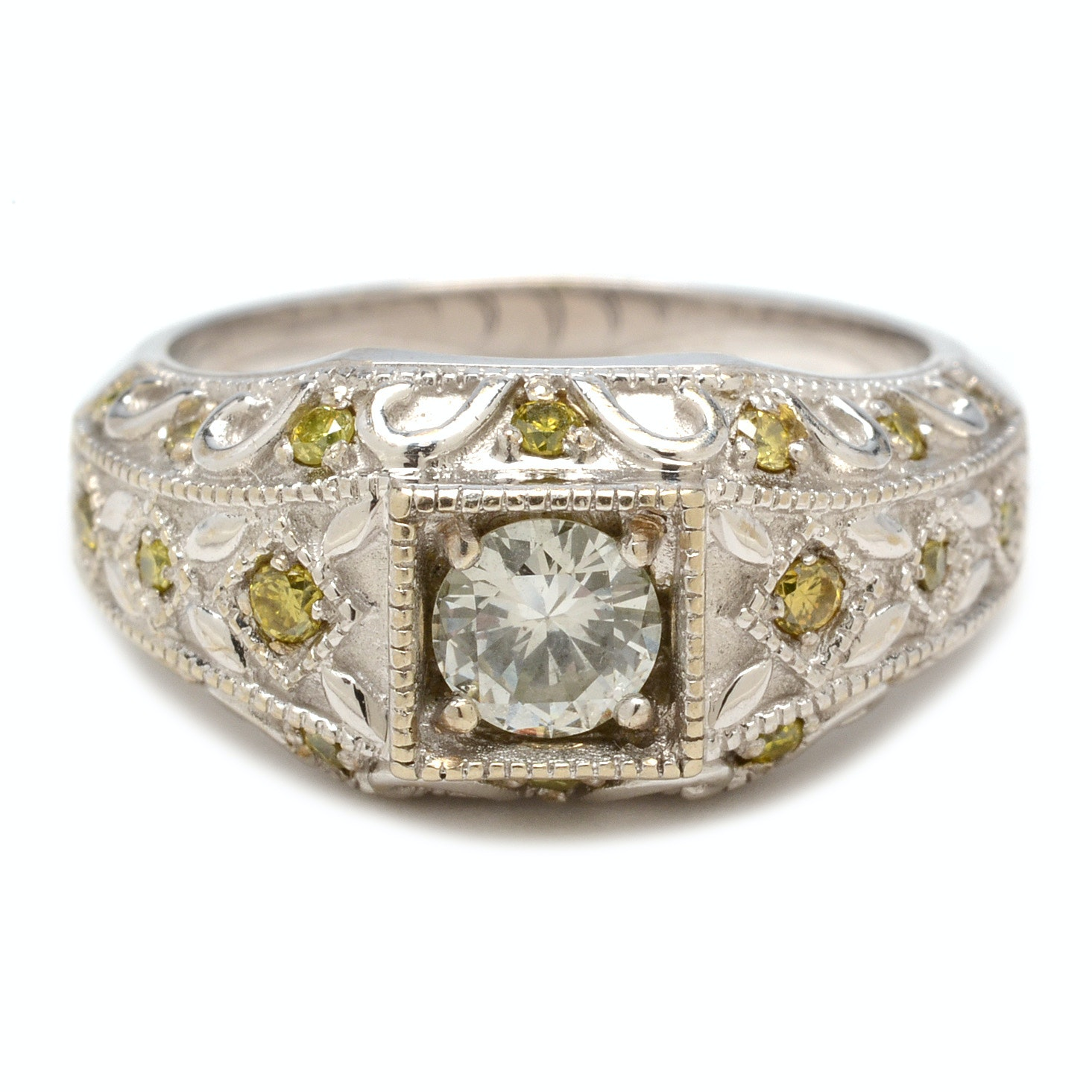 14K White Gold Diamond Ring With Yellow Diamond Accents