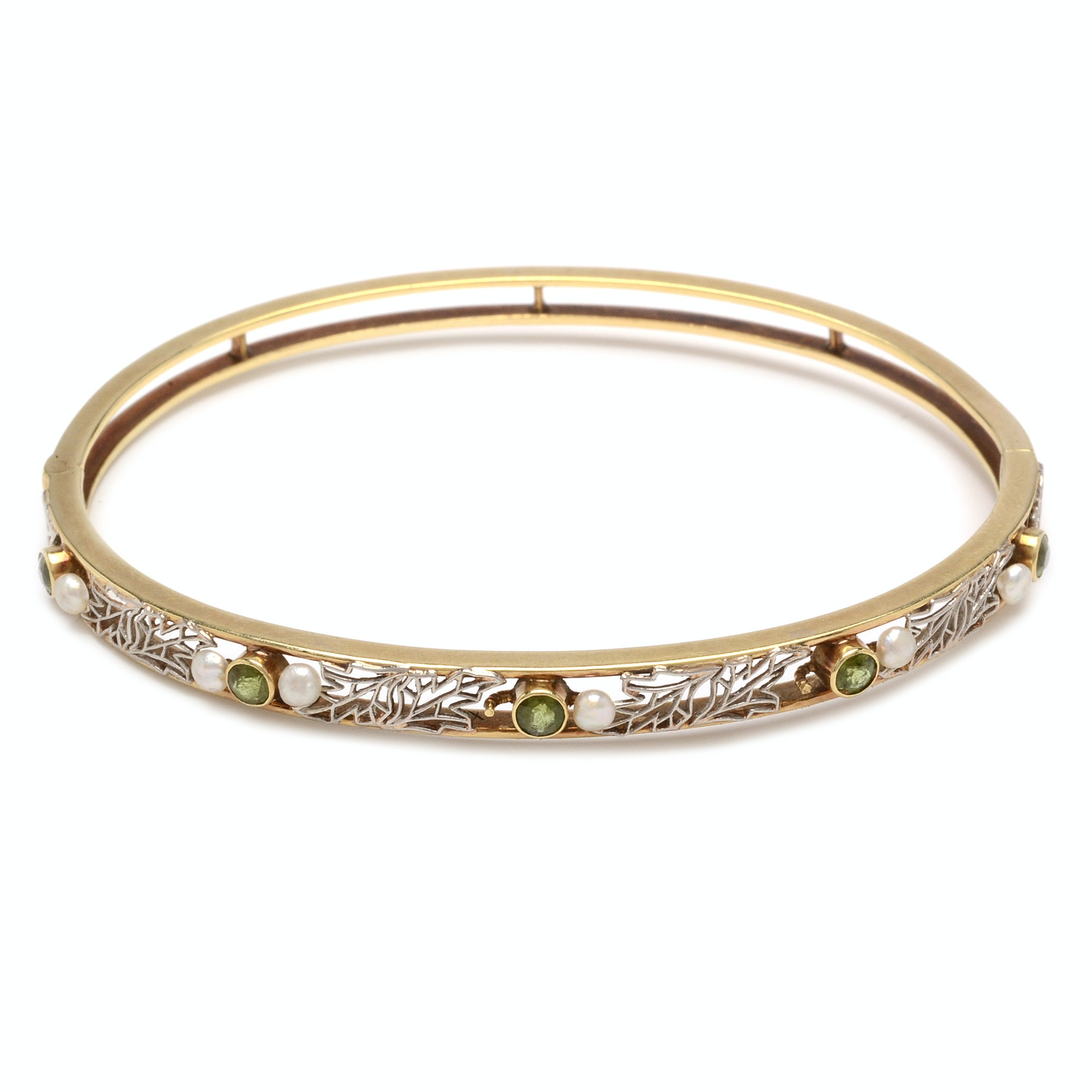 14K Yellow Gold Peridot and Pearl Bangle Bracelet
