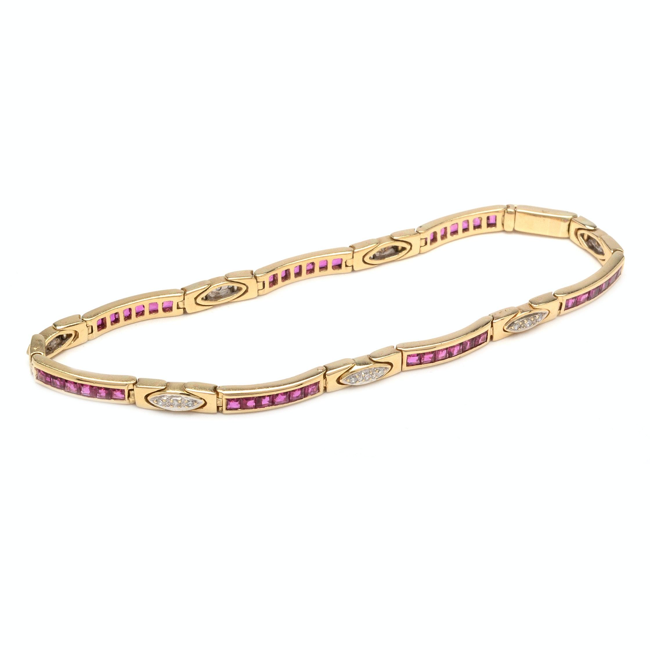 14K Yellow Gold French Cut Ruby and Diamond Bracelet