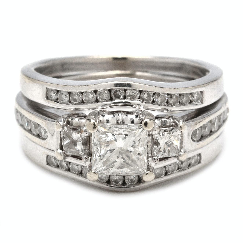 14K White Gold 1.64 CTW Princess Cut Diamond Wedding Ring Set