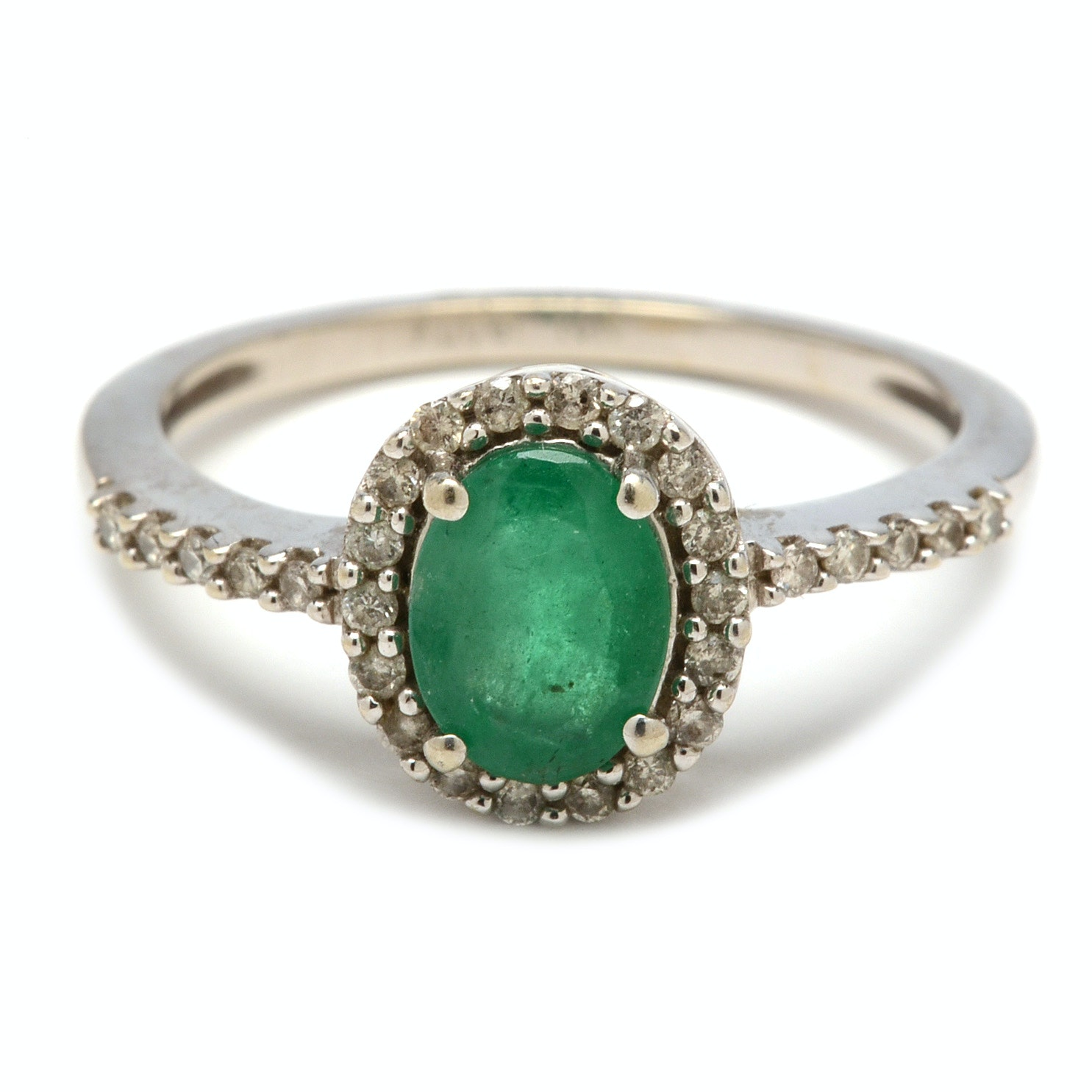 10K White Gold Emerald and Diamond Halo Ring