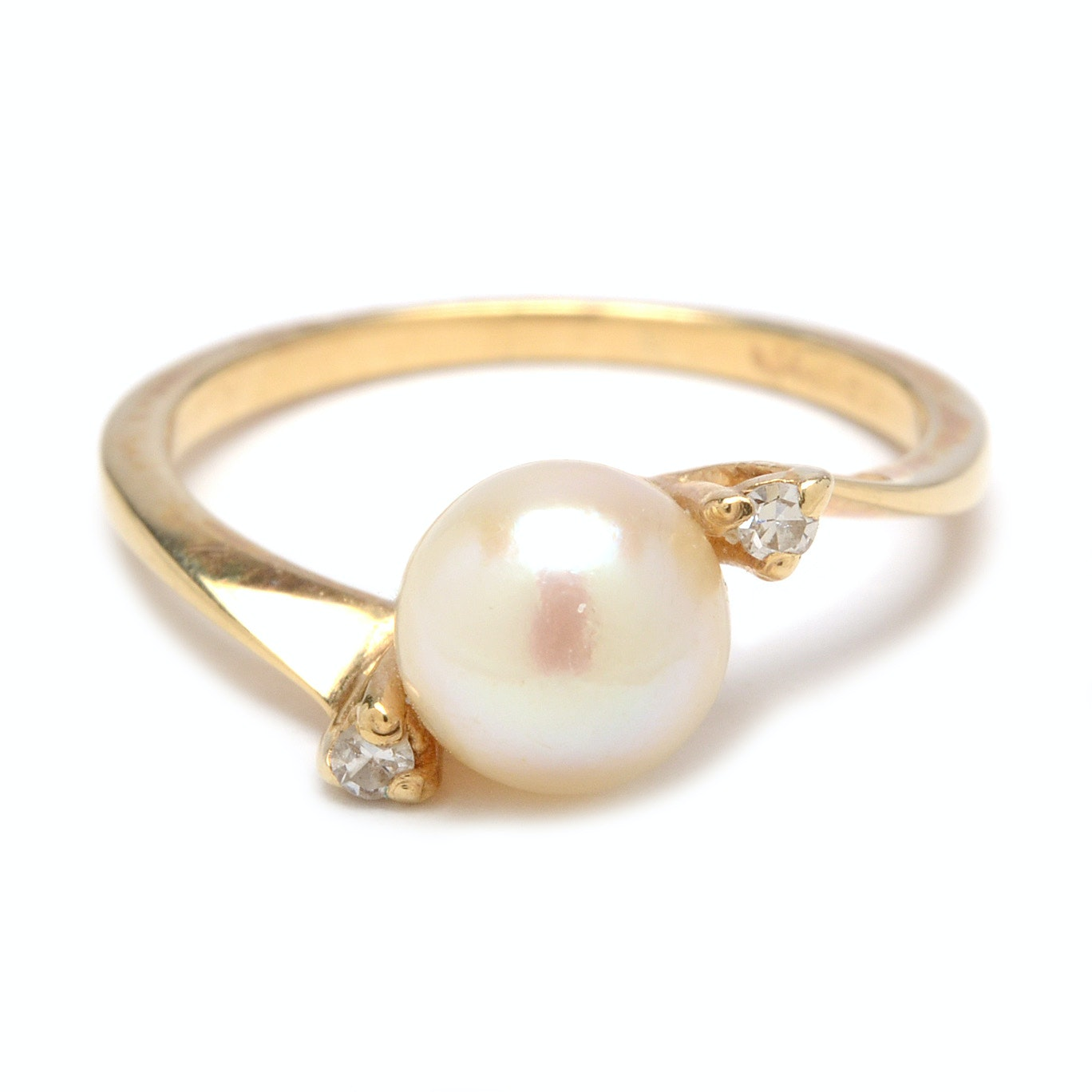 14K Yellow Gold Cultured Pearl and Diamond Bypass Ring