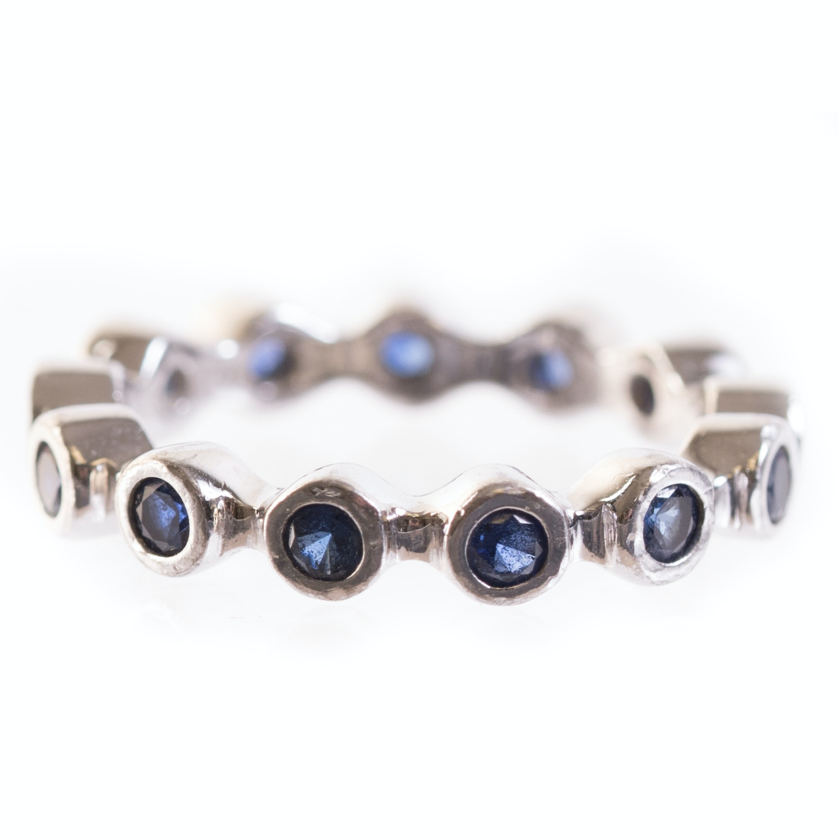 Sterling Silver and Sapphire Eternity Band