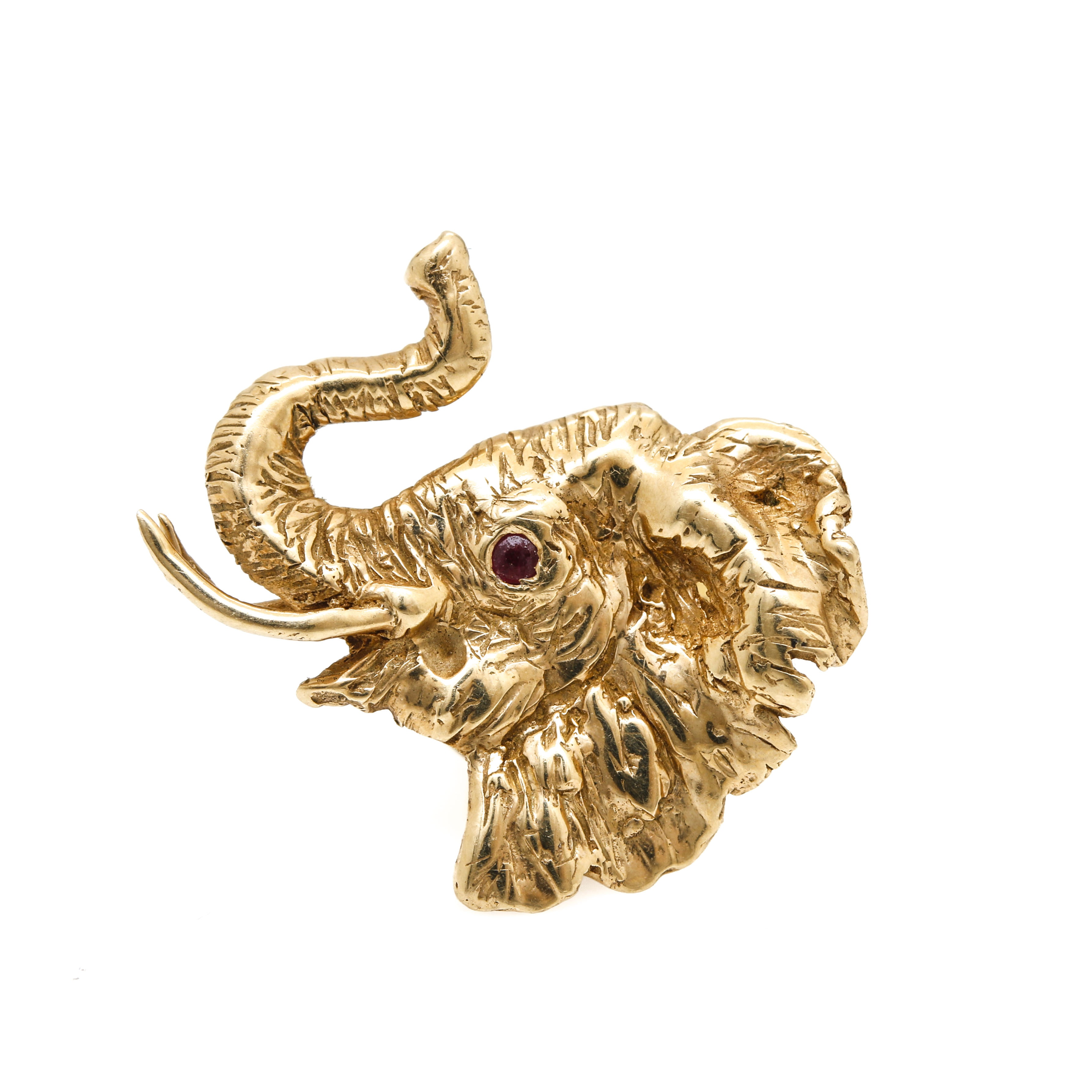 14K Yellow Gold Ruby Elephant Pin