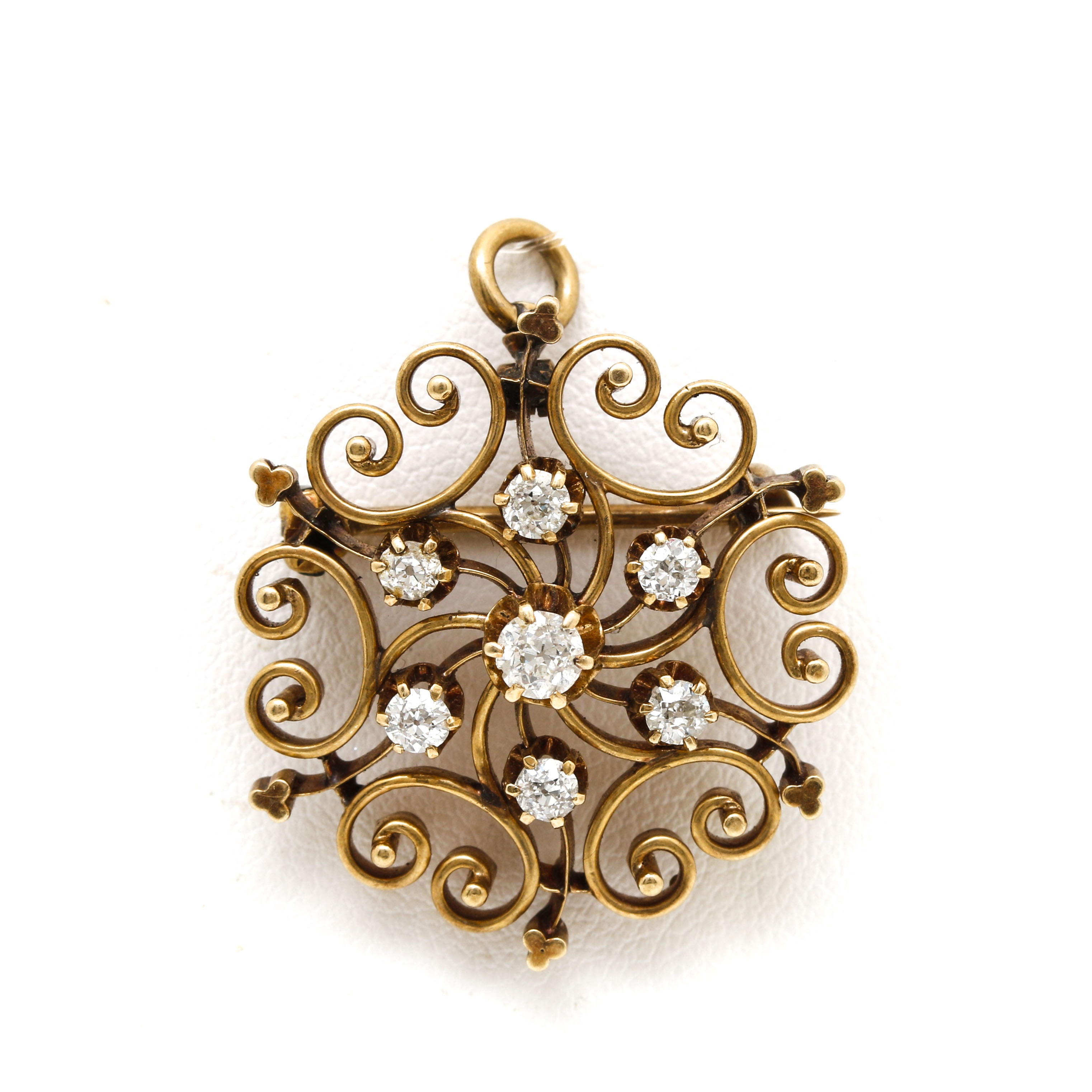 Late 1800's Antique 14K Yellow Gold Diamond Scrolled Pendant Brooch