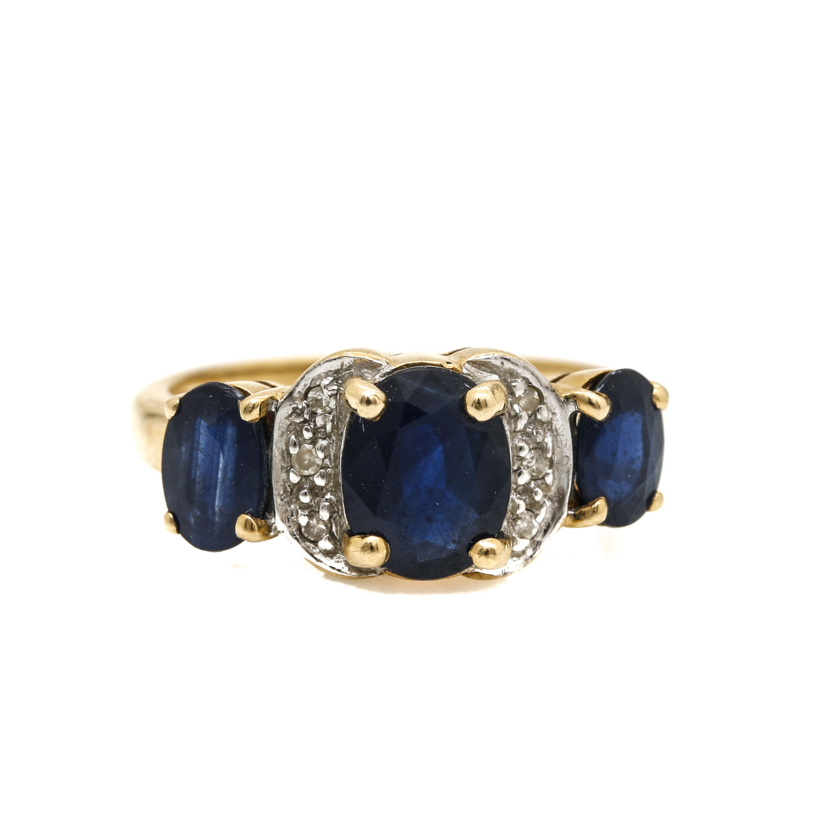 14K Two Tone Gold Sapphire and Diamond Ring