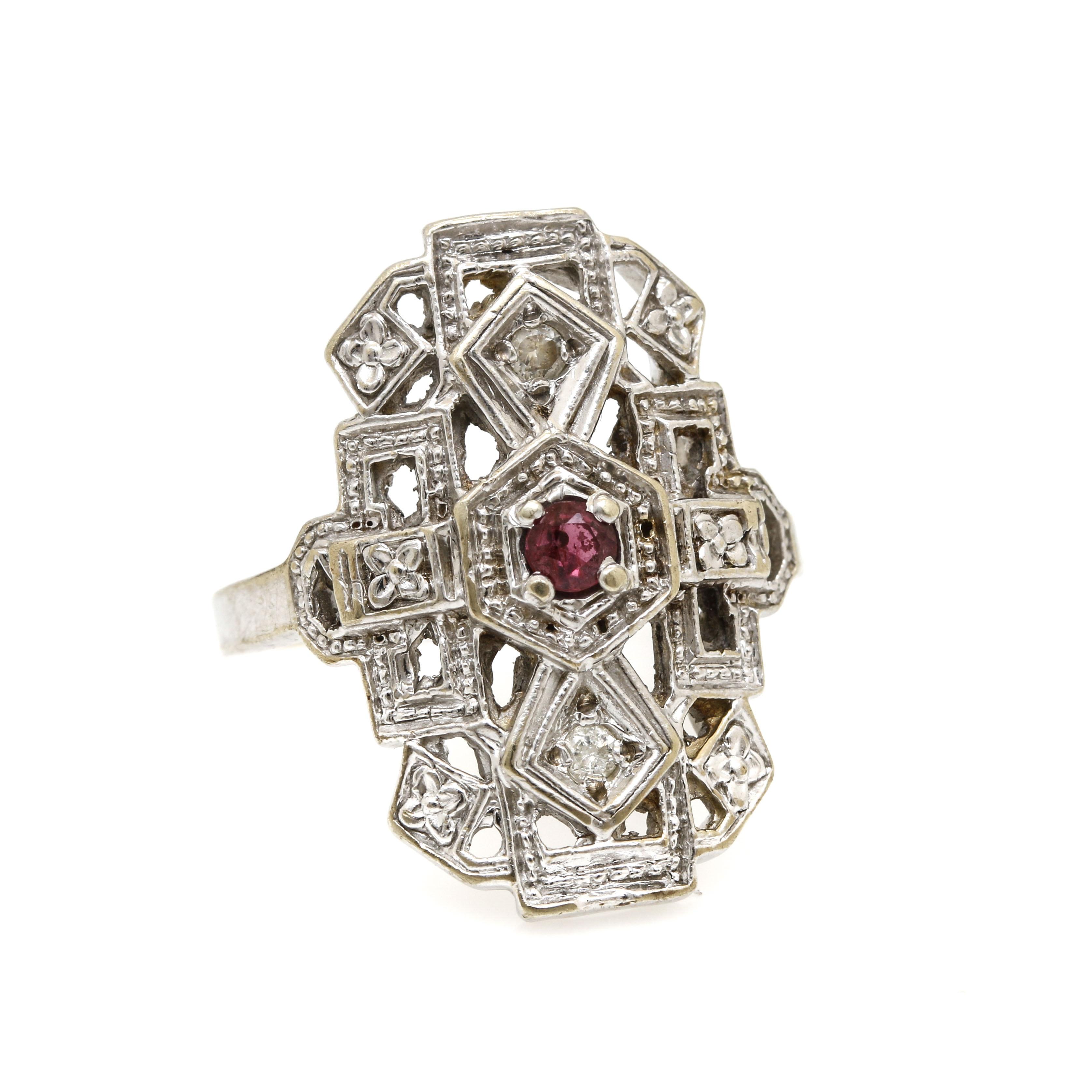 14K White Gold Ruby Diamond Ring