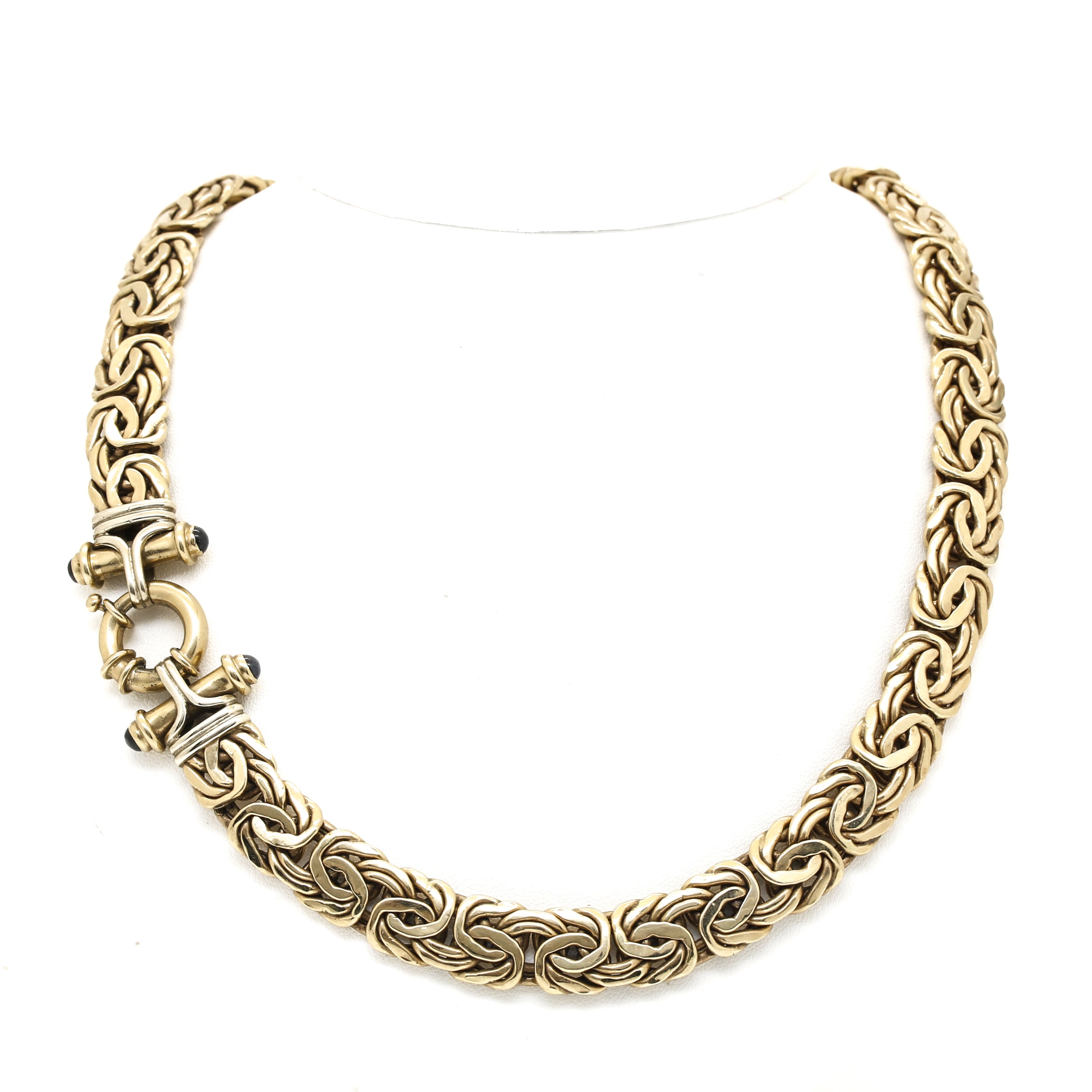 14K Yellow Gold Necklace with Black Sapphire