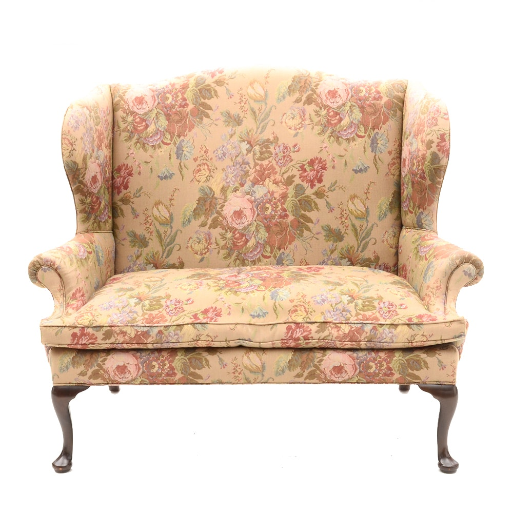 Vintage Queen Anne Style Wing-Back Love Seat