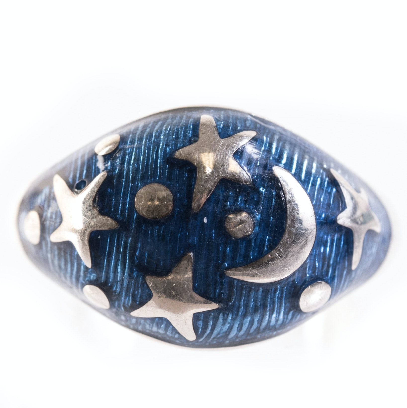 Sterling Silver and Enamel Stars and Moon Ring