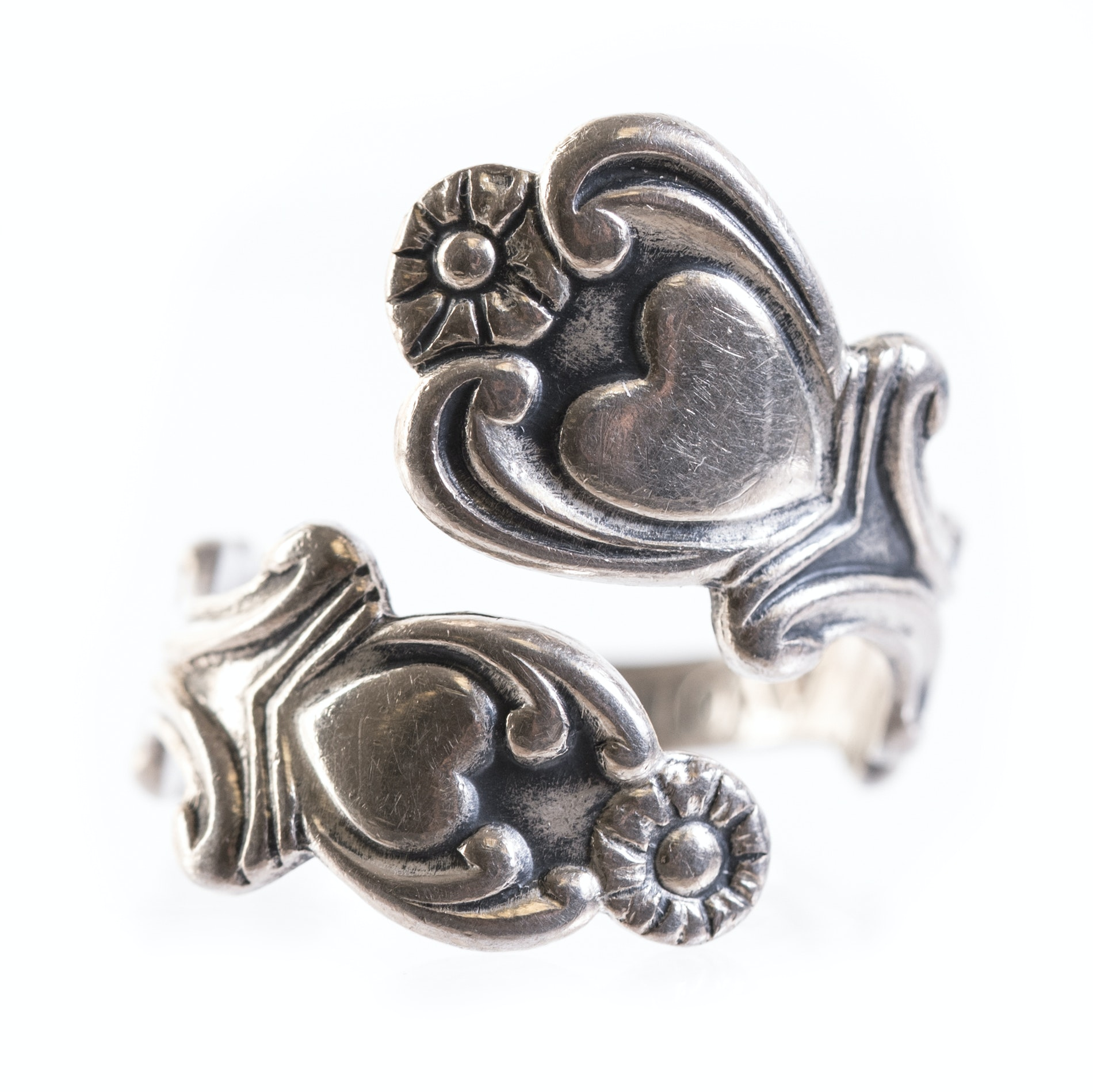 Sterling Silver Heart Spoon Ring
