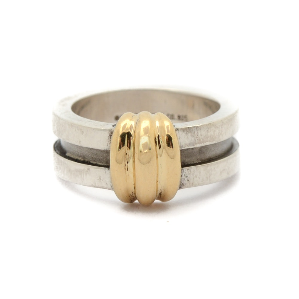 1995 Tiffany & Co. Sterling Silver 18K Yellow Gold Ring