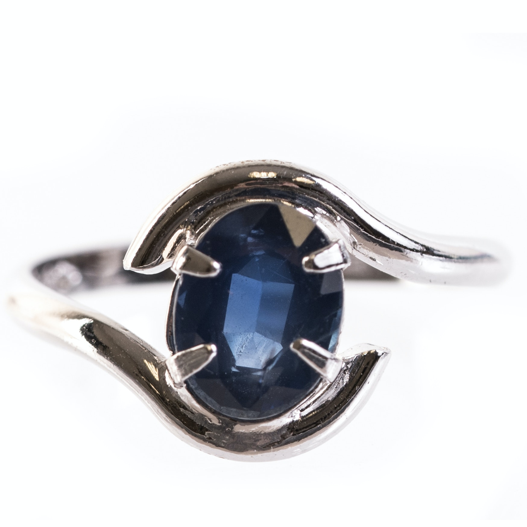 Sterling Silver and Sapphire By-pass Ring