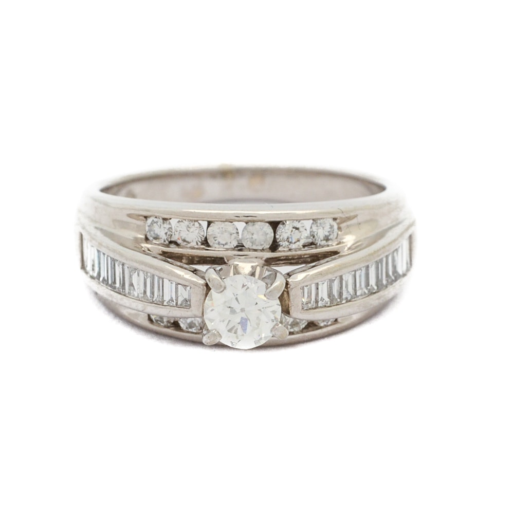 14K White Gold Triple Tier Diamond Ring