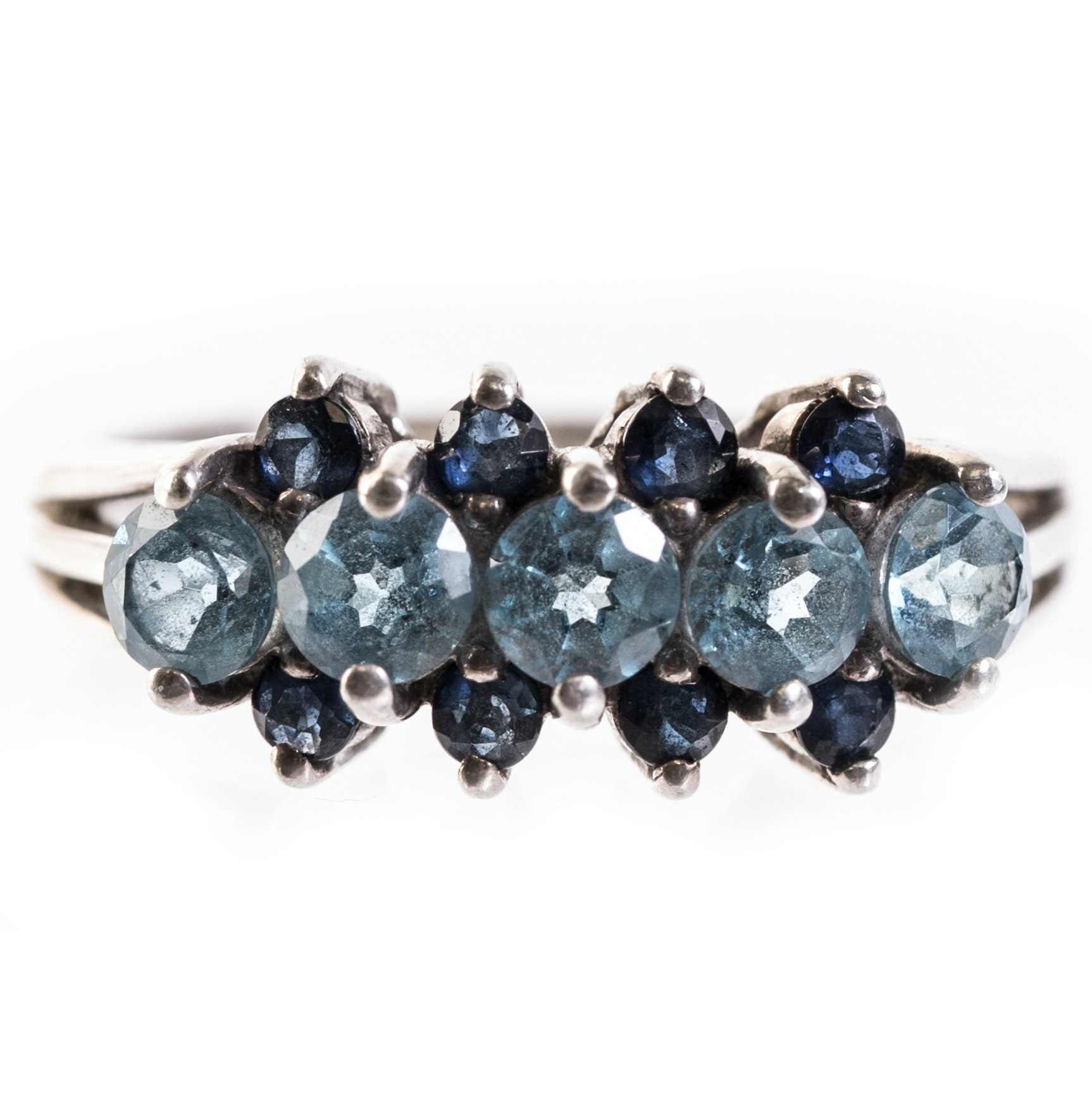 Sterling Silver, Blue Topaz and Sapphire Ring