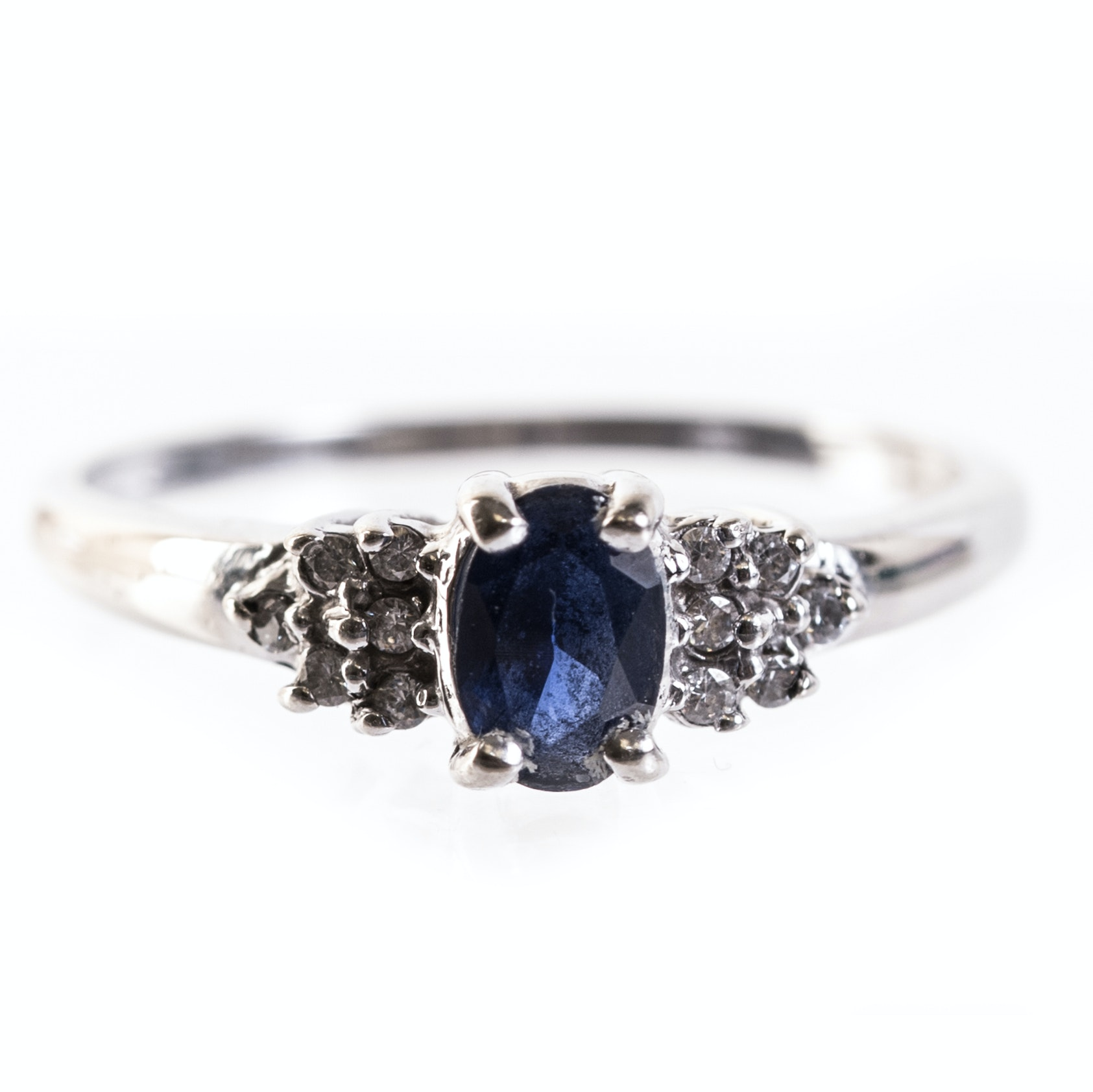 10K White Gold, Sapphire, and Cubic Zirconia Ring