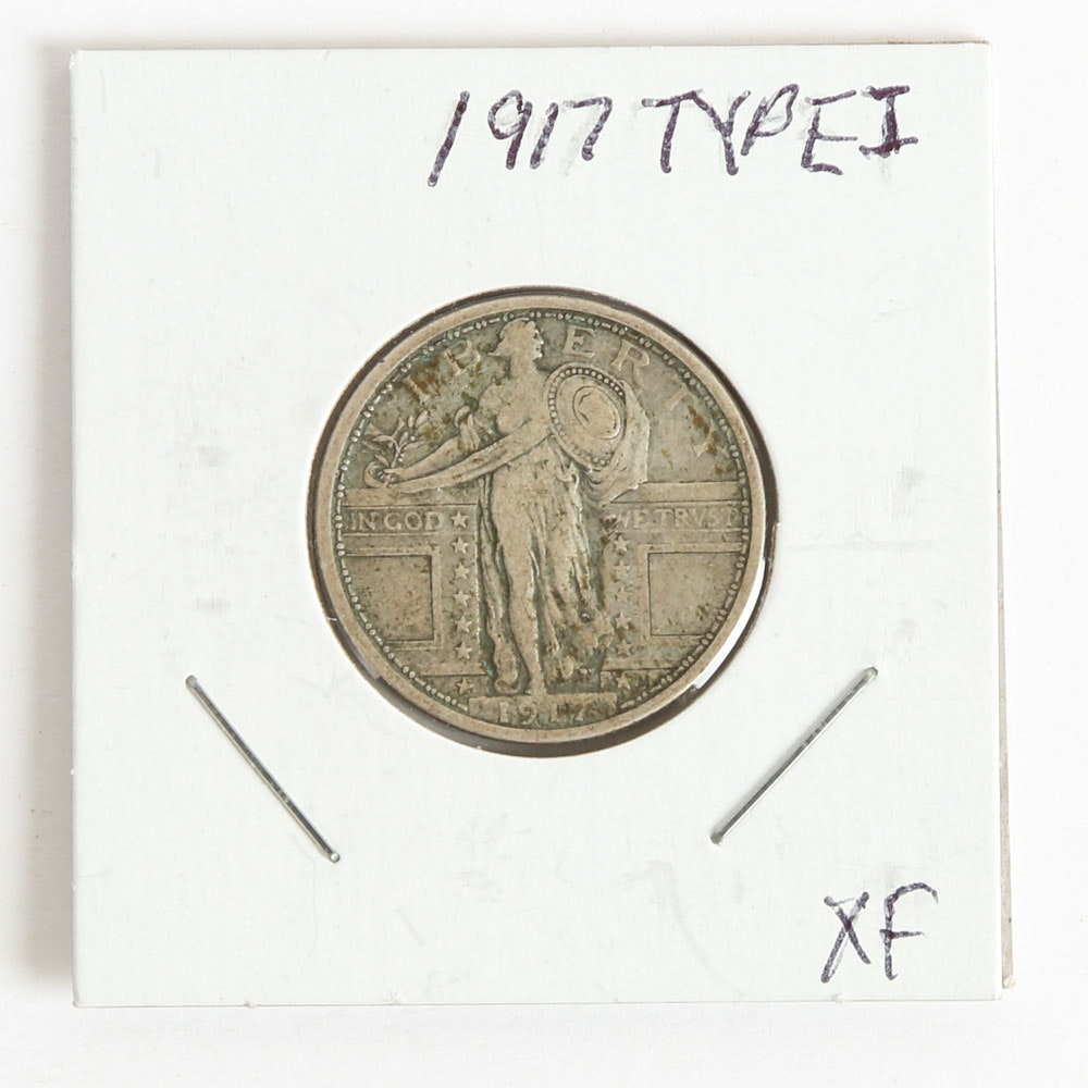 1917 Type I Standing Liberty Quarter Dollar