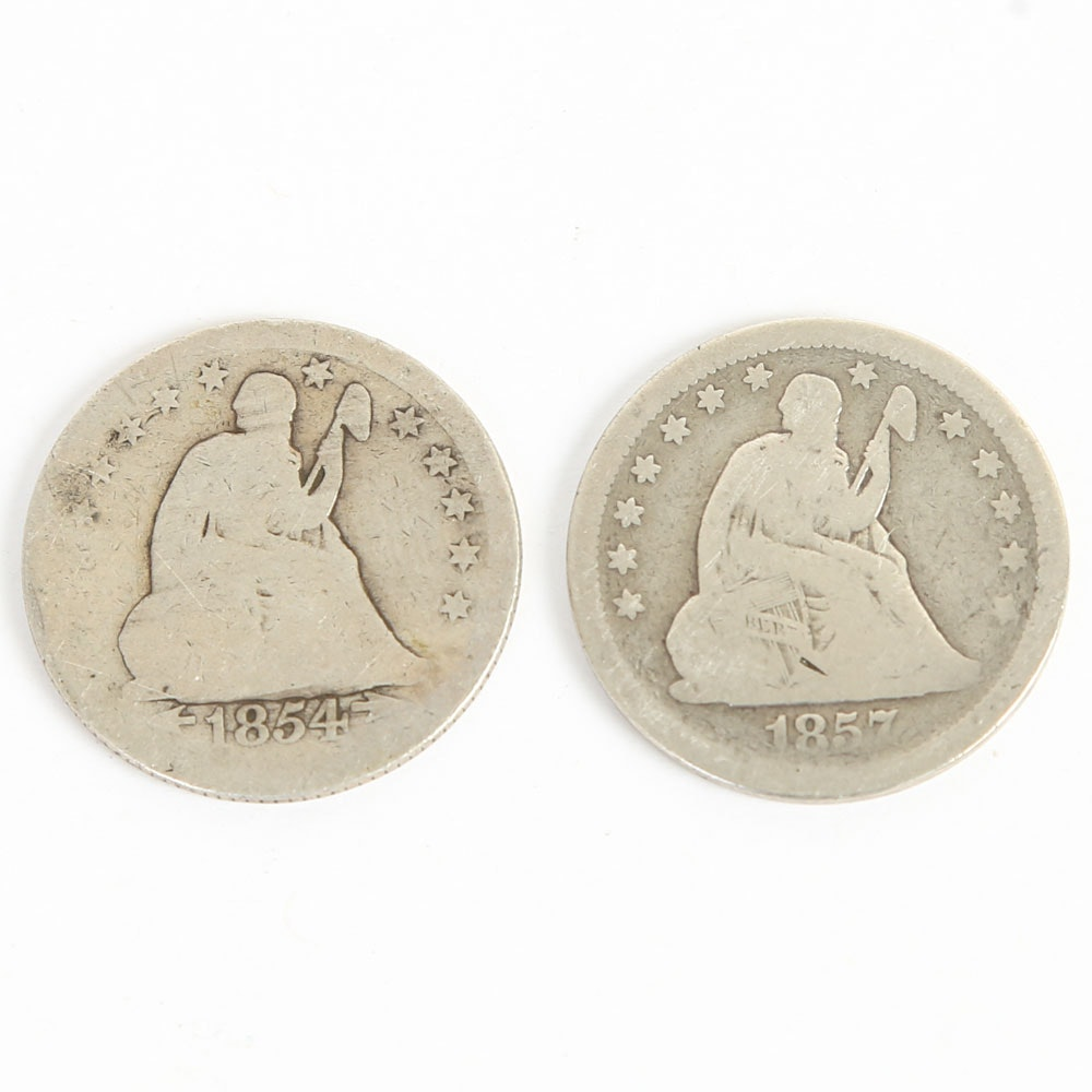 1854 and 1857 Seated Liberty Quarter Dollars