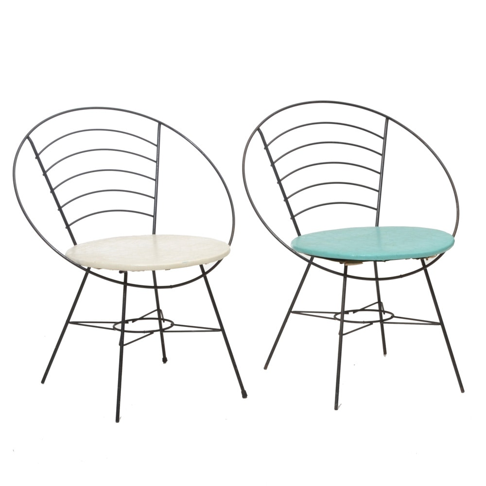 Two Mid Century Modern Outdoor Hoop Chairs