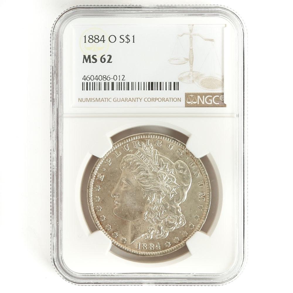 NGC Graded 1884 O Morgan Silver Dollar